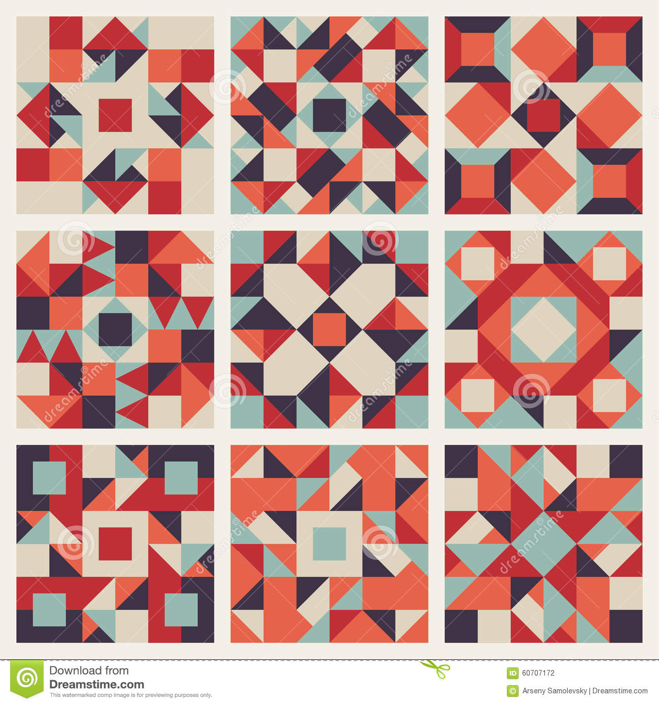 Vector Seamless Blue Red Orange Geometric Ethnic Square Quilt Pattern Collection