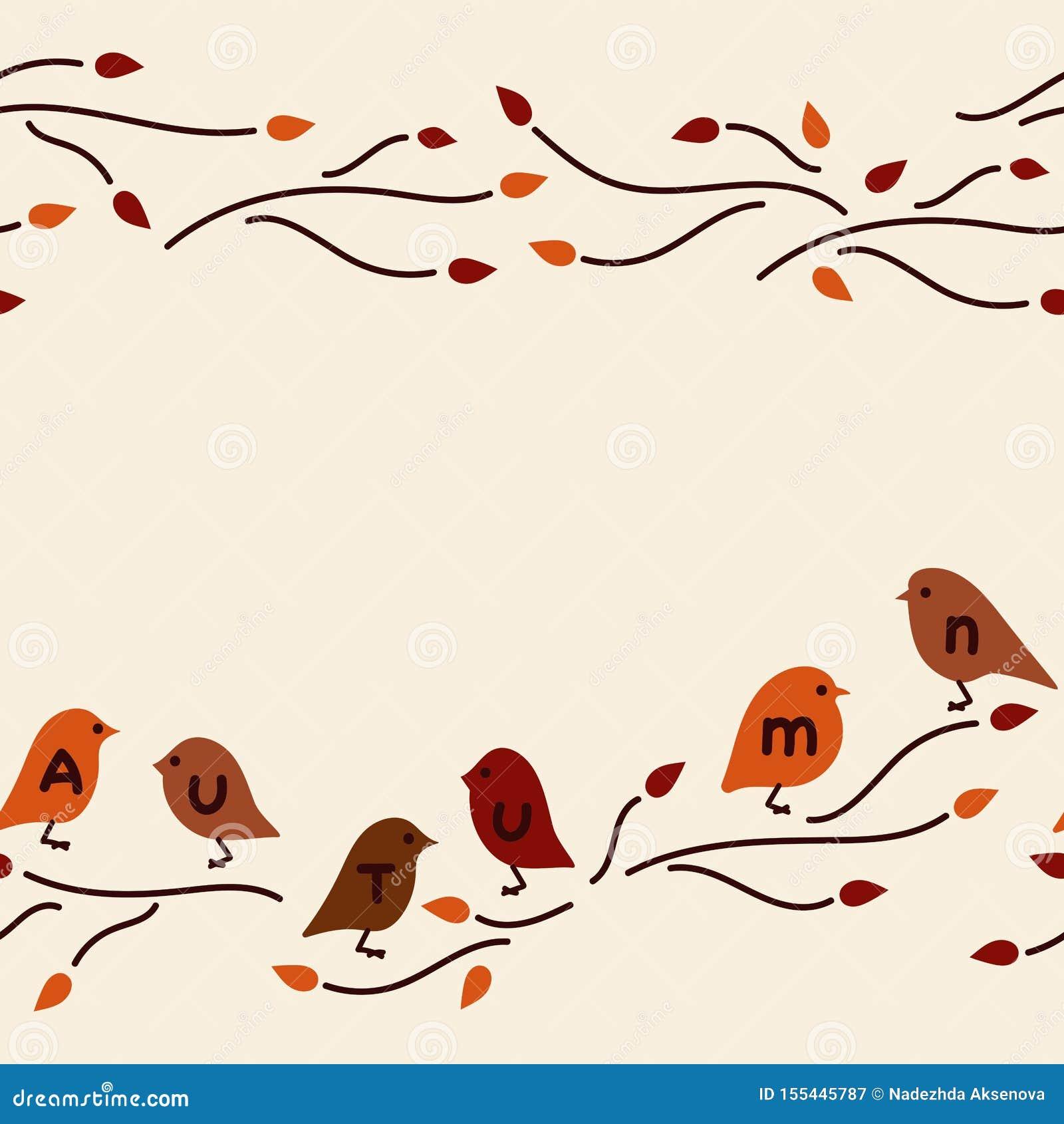 Vector seamless border. Cute birds on the branches, doodles
