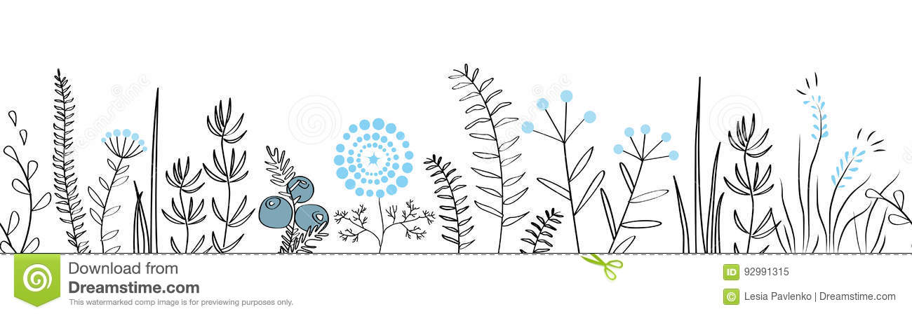Vector Seamless Border With Forest And Meadow Plants Background For