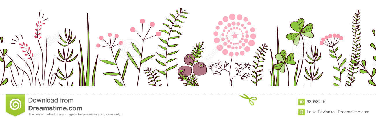 Vector seamless border with forest and meadow plants. Background for frames, decorative scotch tape, posters, kids