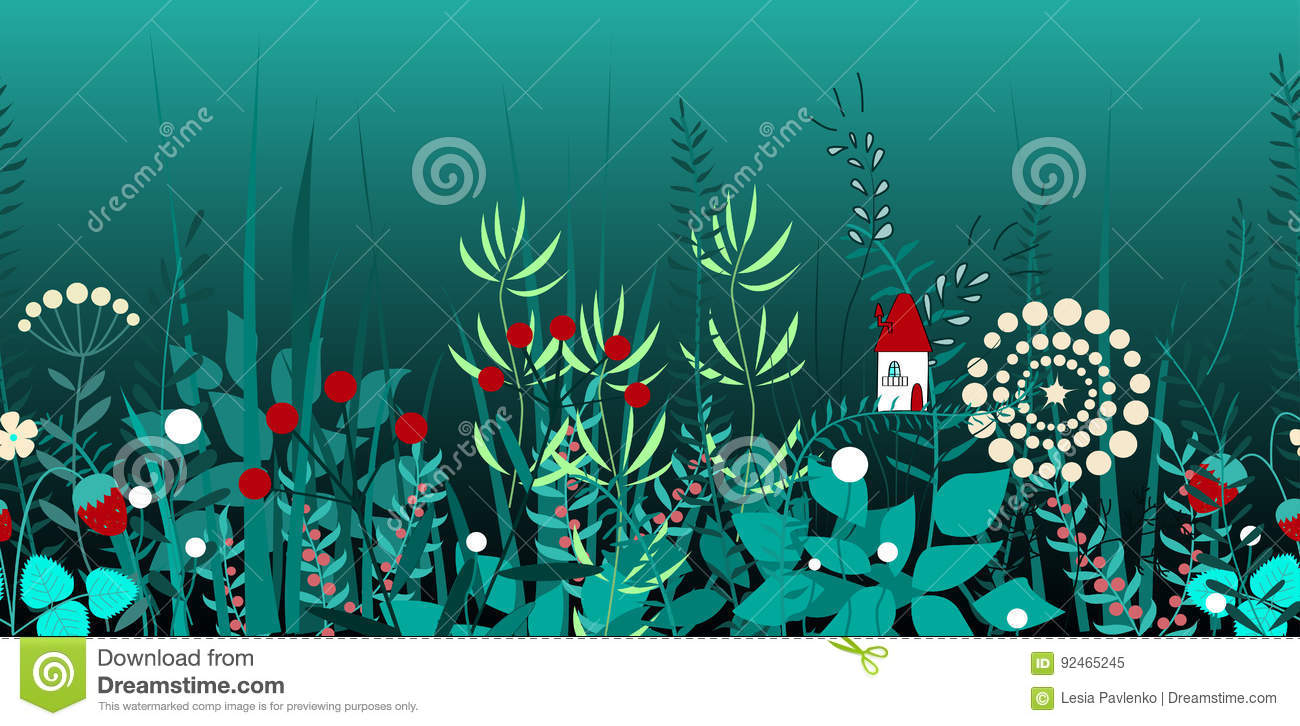 Vector seamless border with forest plants, and fairy house. Background for frames, decorative scotch tape, books, kids