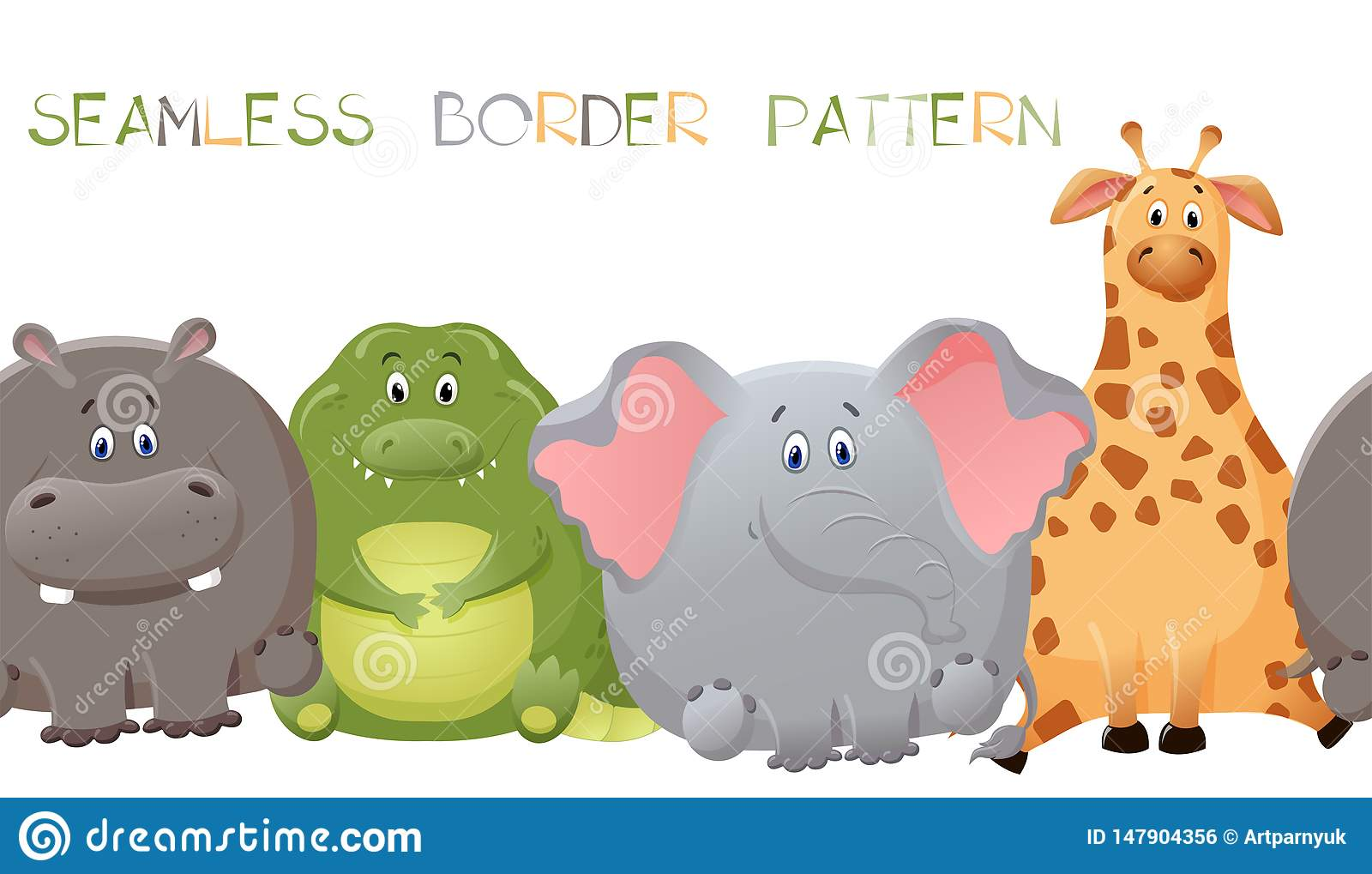 Vector seamless border pattern with elephant, giraffe, crocodile, and hippopotamus. Cute fat cartoon character. The concept of fun
