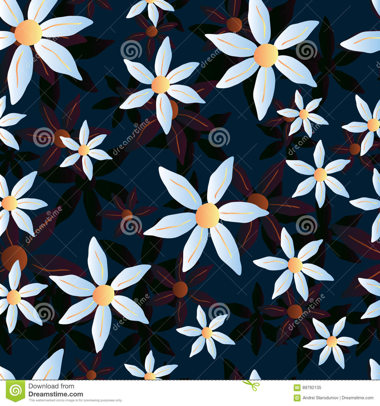 Vector seamless chamomile blue pattern