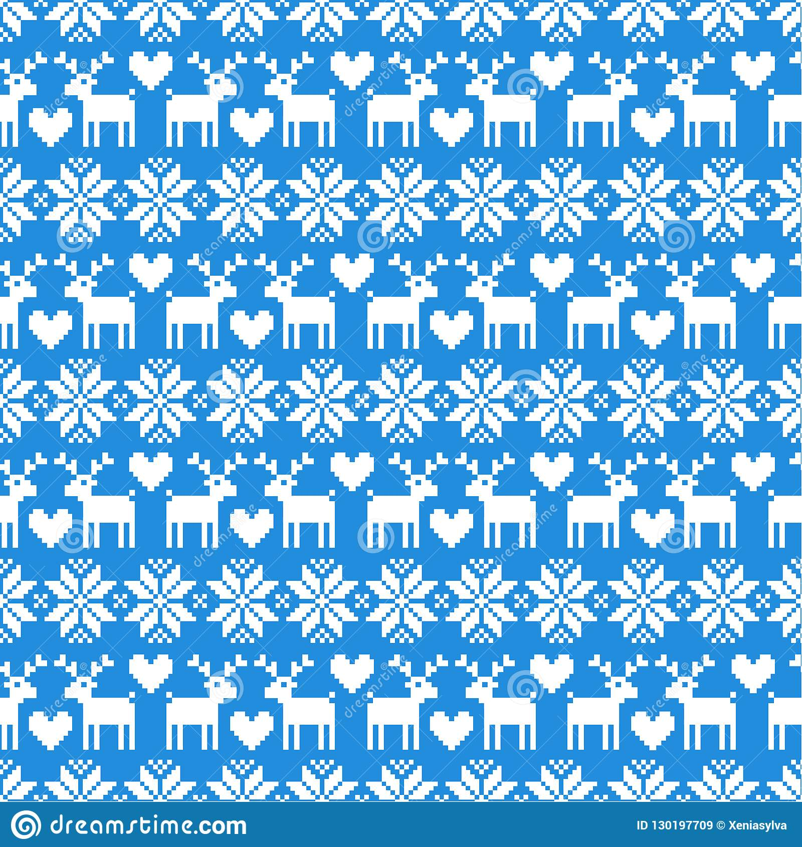 Christmas Sweater Pattern.Vector Seamless Christmas Sweater Pattern With Deers On Blue