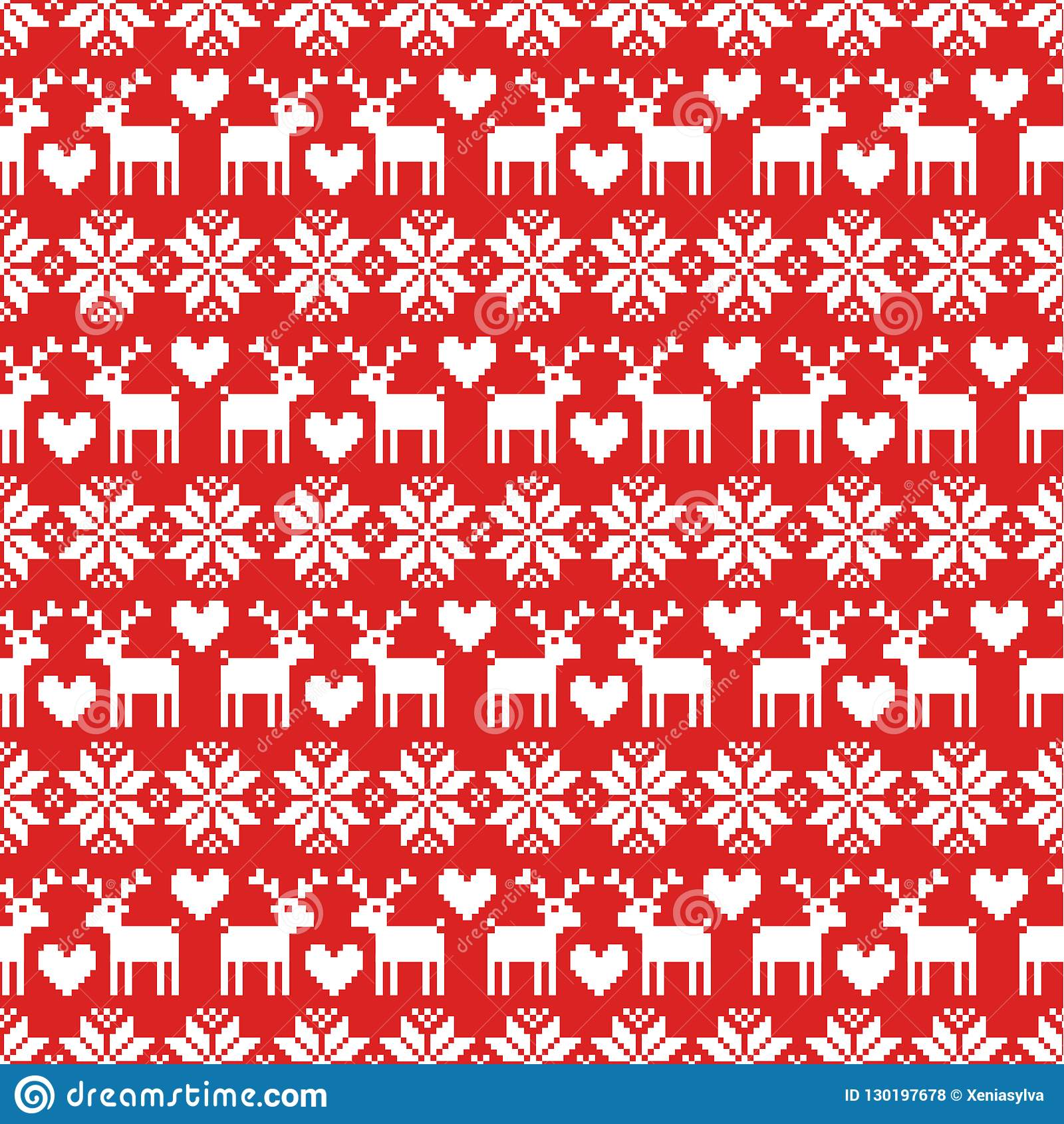Christmas Sweater Pattern.Vector Seamless Christmas Sweater Pattern With Deers On Red
