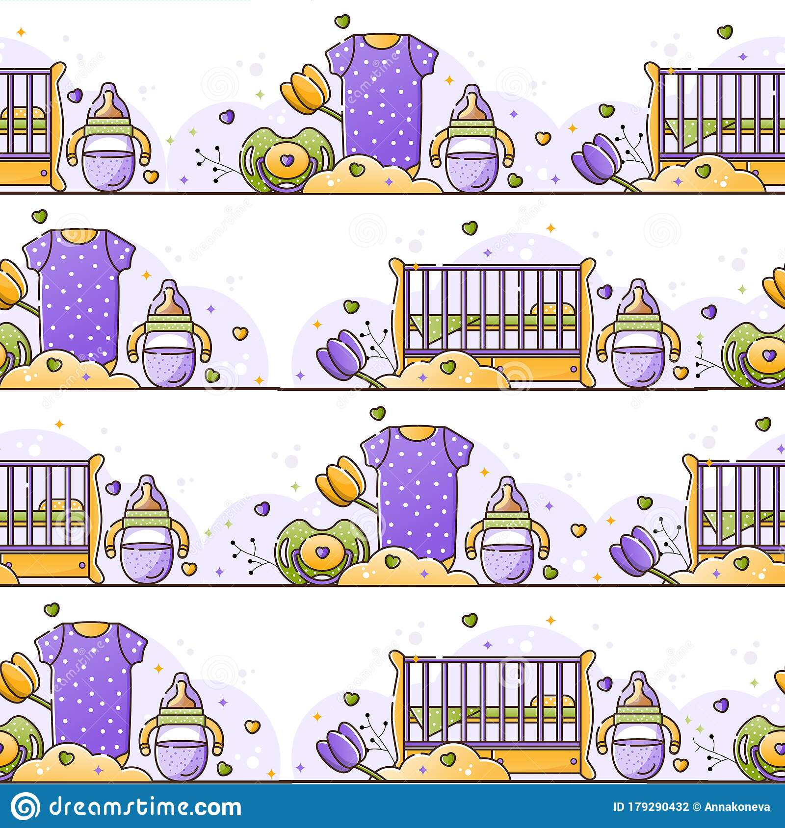 Vector Seamless Color Pattern With Baby Accessories For Newborn Birth Of A Child Feeding And Care Use For Backgrounds Stock Illustration Illustration Of Love Born 179290432