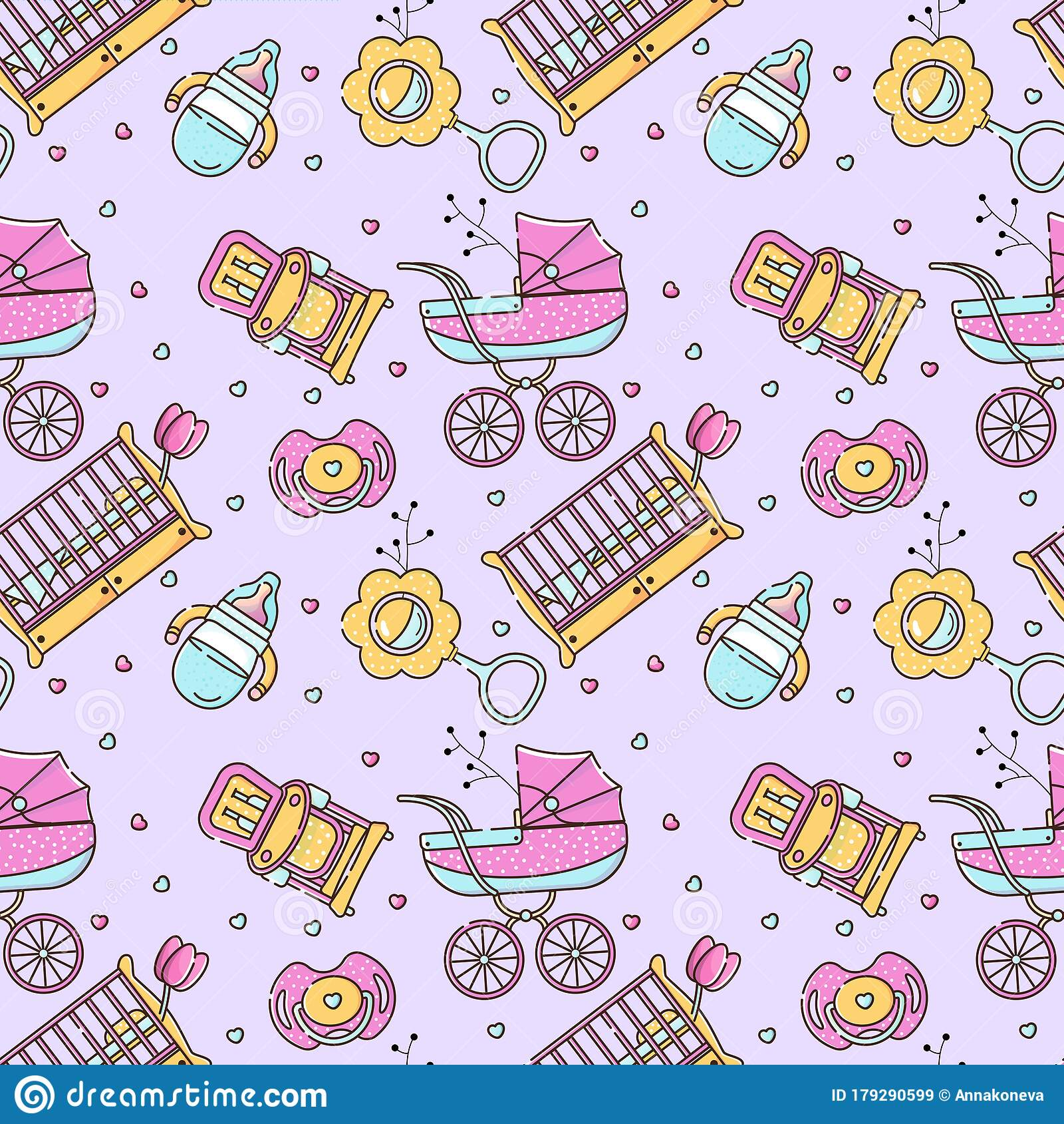 Vector Seamless Color Pattern With Baby Accessories For Newborn Birth Of A Child Feeding And Care Use For Backgrounds Stock Illustration Illustration Of Seamless Pattern 179290599