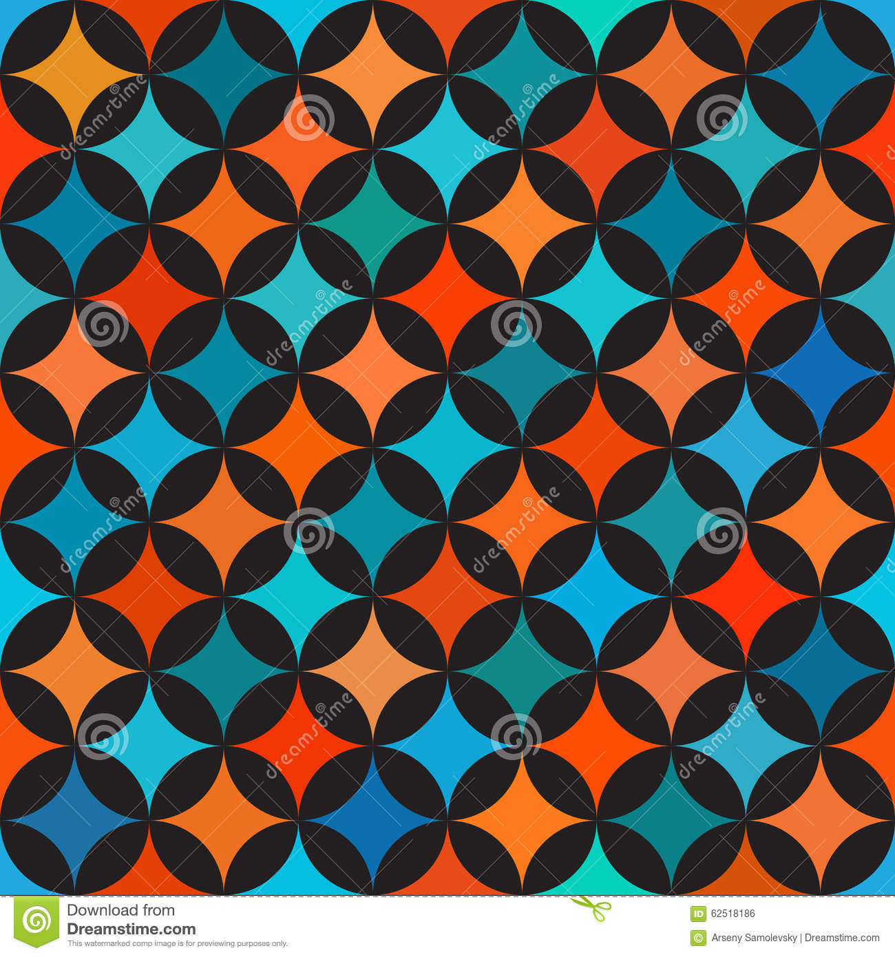 Vector Seamless Colorful Blue Orange Shades Circle Star Quilt ...