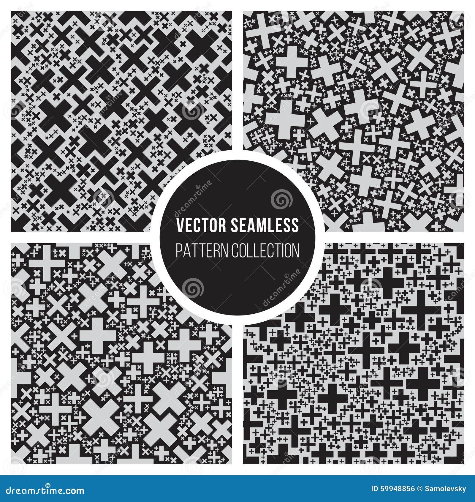 Vector Seamless Cross Mosaic Geometric Pattern Tile