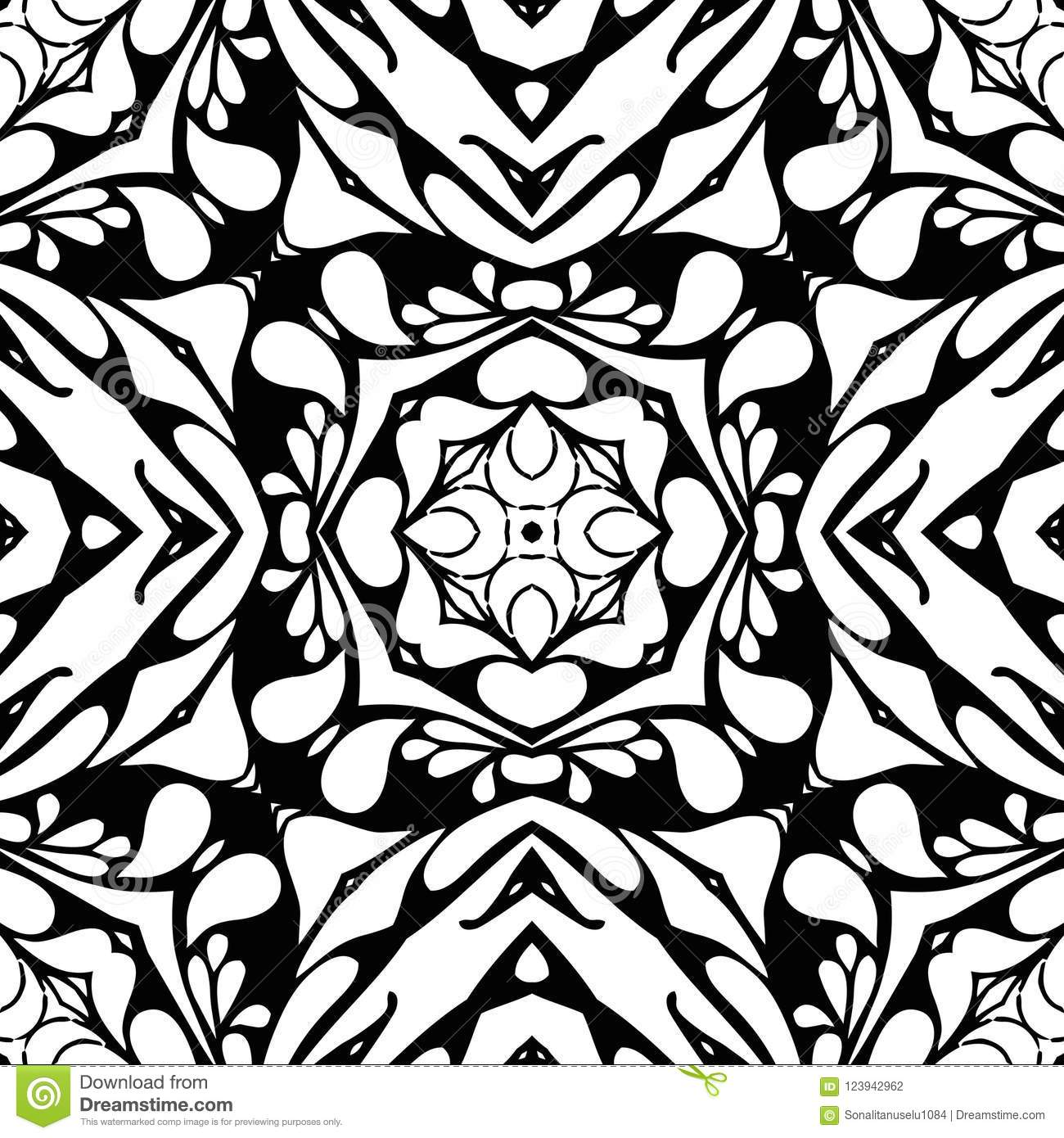 Vector Seamless Curve Pattern Black And White Abstract Background Wallpaper Illustration