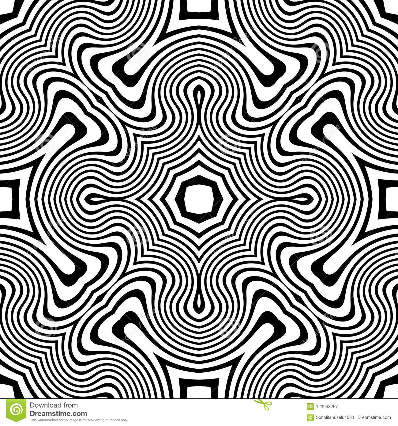 Vector Seamless Curve Pattern Black And White Abstract Background Wallpaper Vector Illustration Stock Vector Illustration Of Black Dots 123943257