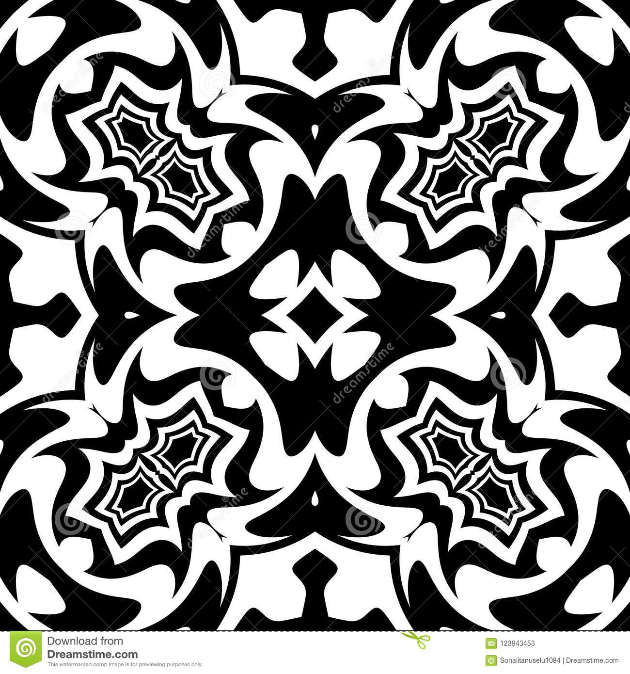 Vector Seamless Curve Pattern Black And White. Abstract