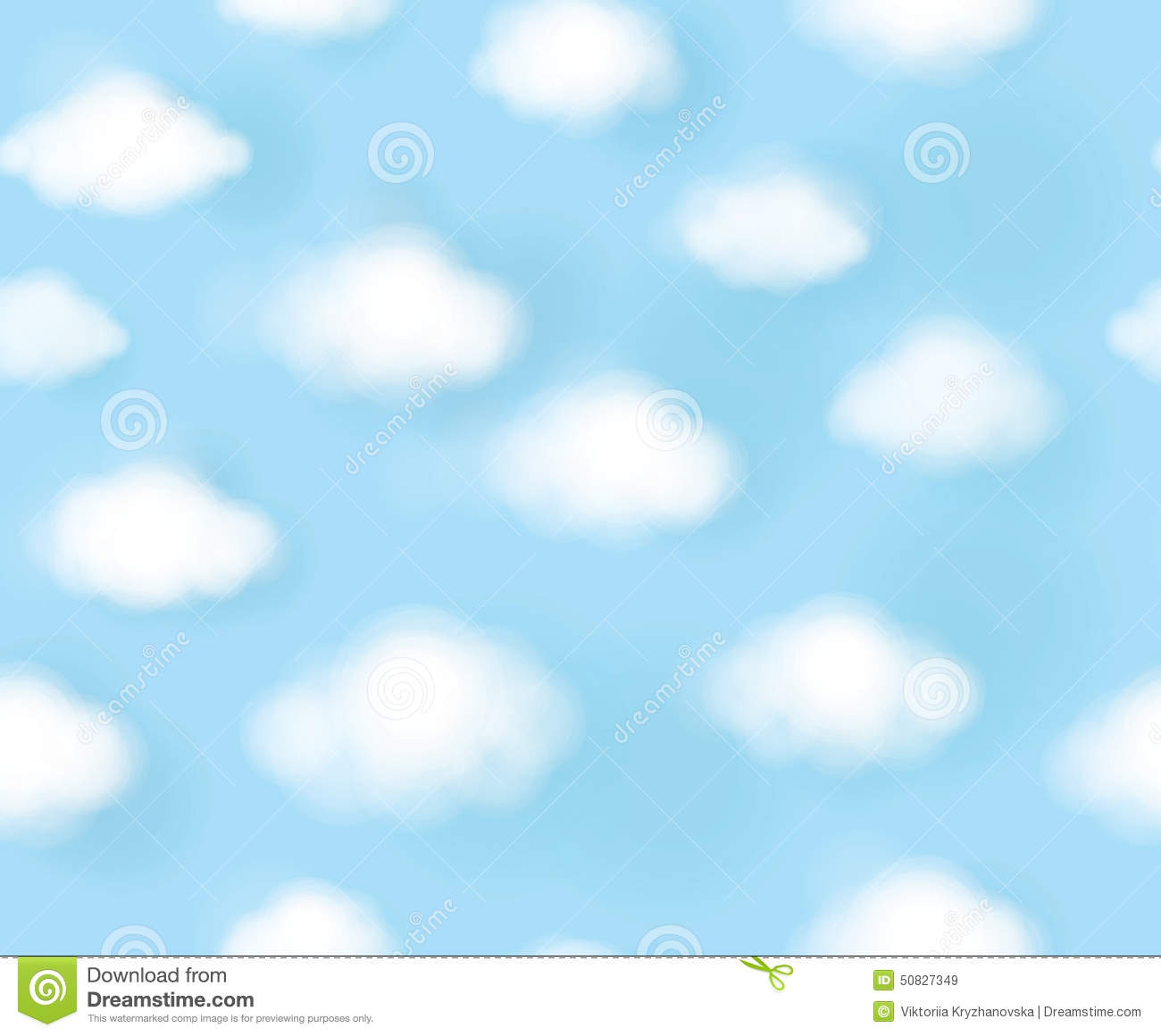 vector seamless cute pattern blue sky and white clouds illustration