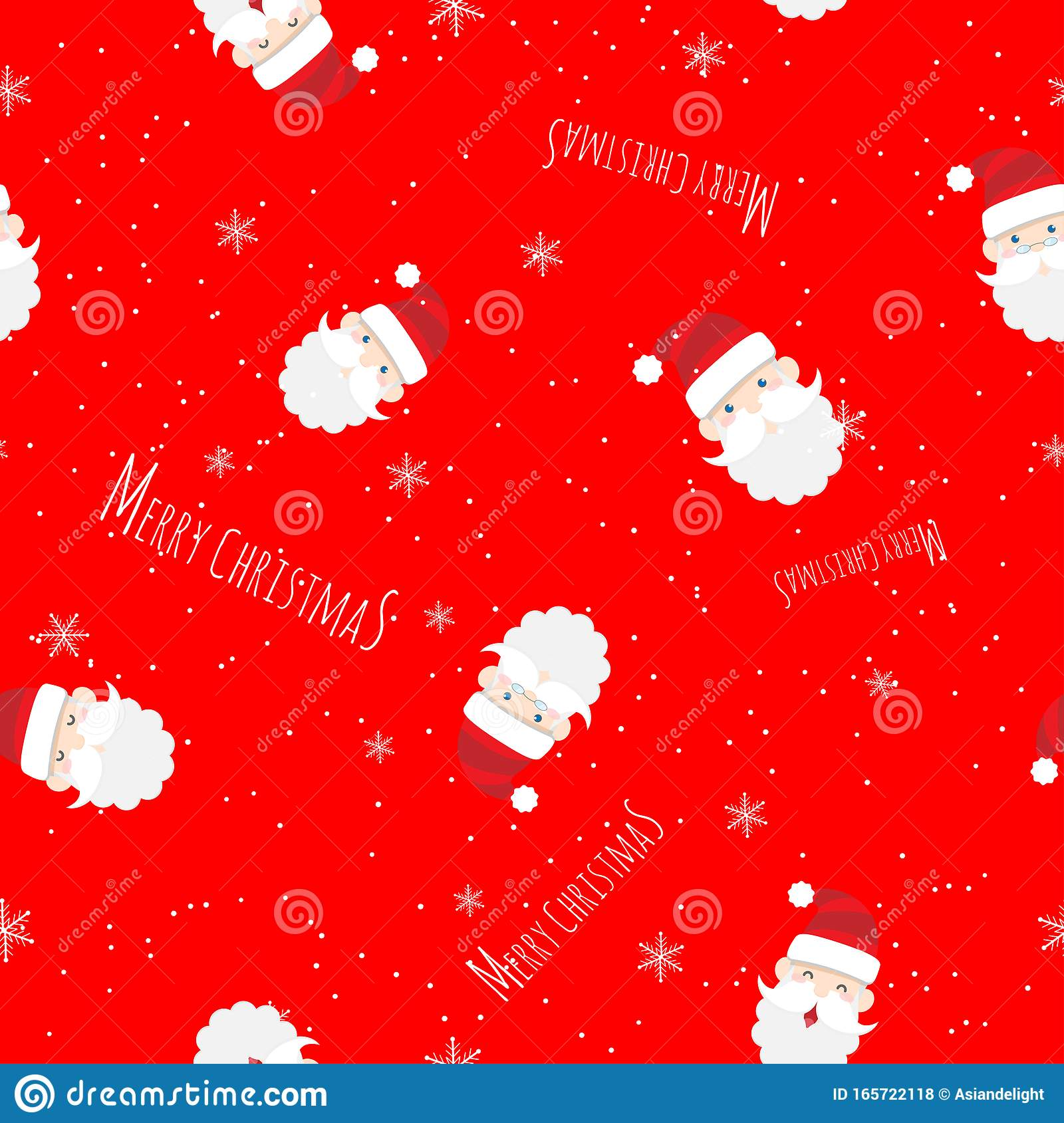 vector seamless cute santa claus cartoon text merry christmas pattern red background christmas wallpaper background 165722118