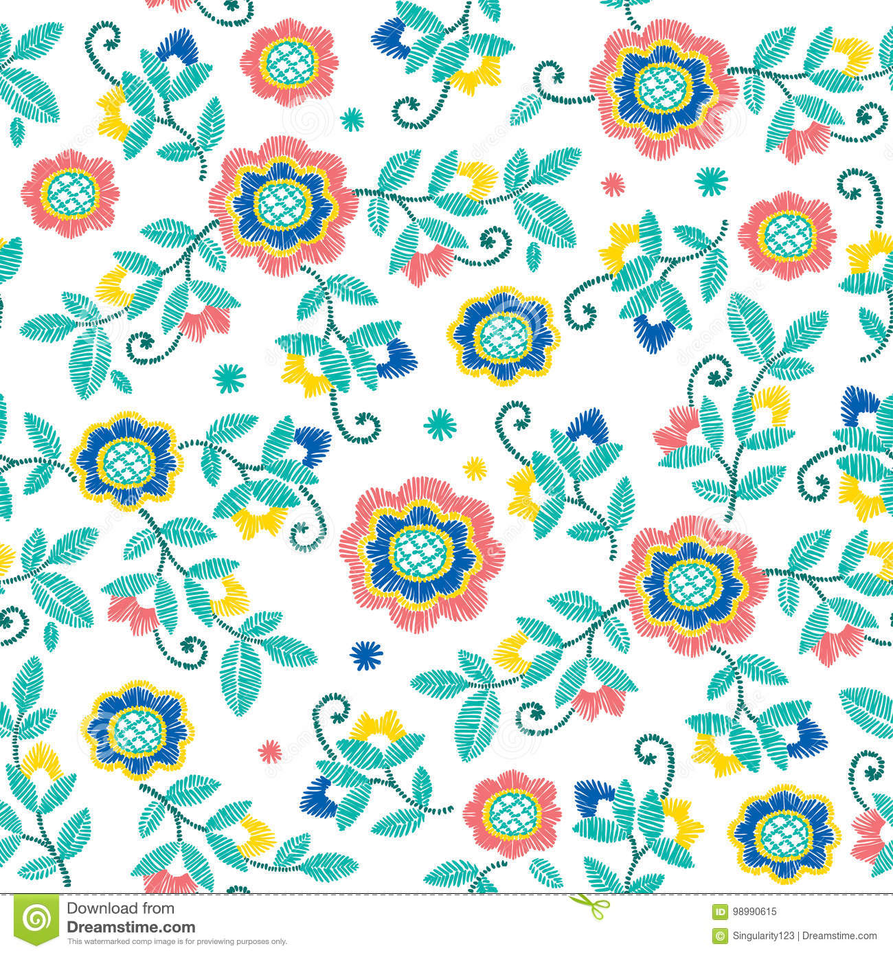 a3069eef504b Vector Seamless Decorative Floral Embroidery Pattern, Ornament For ...