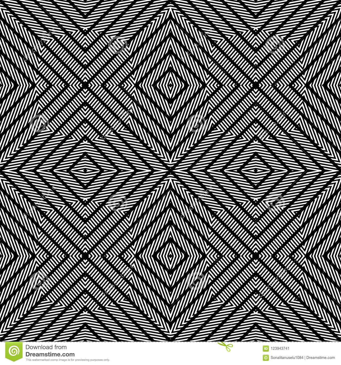 Vector Seamless Diamond Lines Pattern Black And White Abstract Background Wallpaper Vector Illustration Stock Vector Illustration Of Lighting Head 123943741
