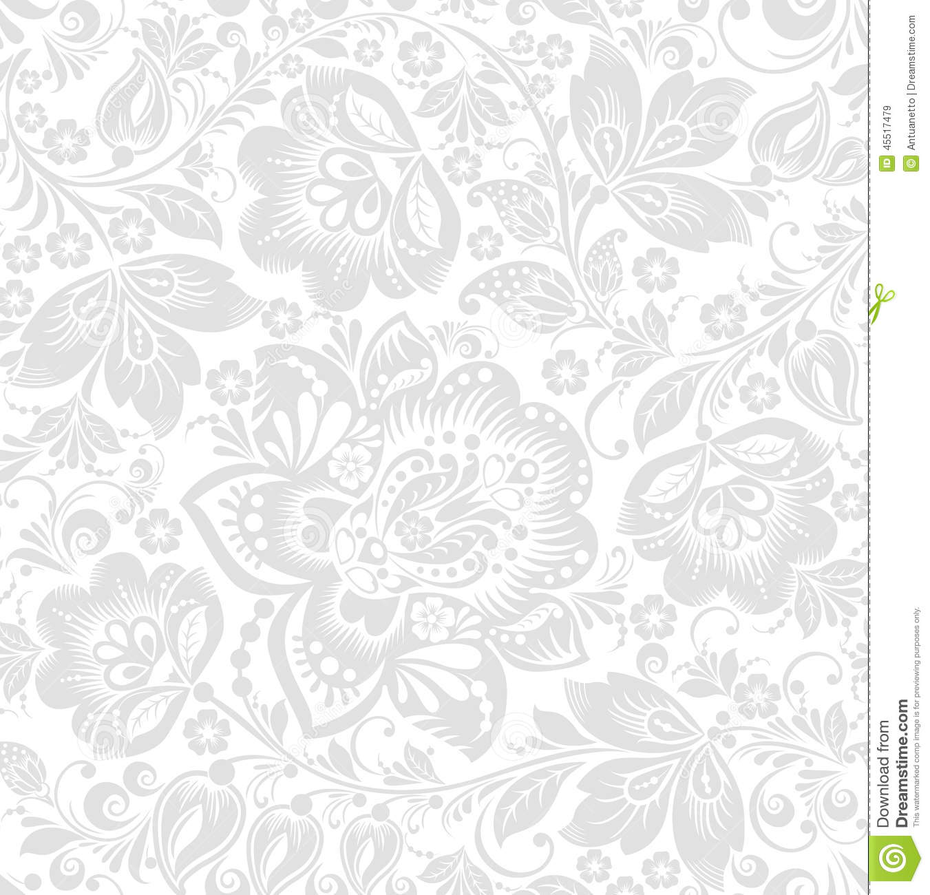 Vector seamless floral background stock vector for Gray and white wallpaper designs
