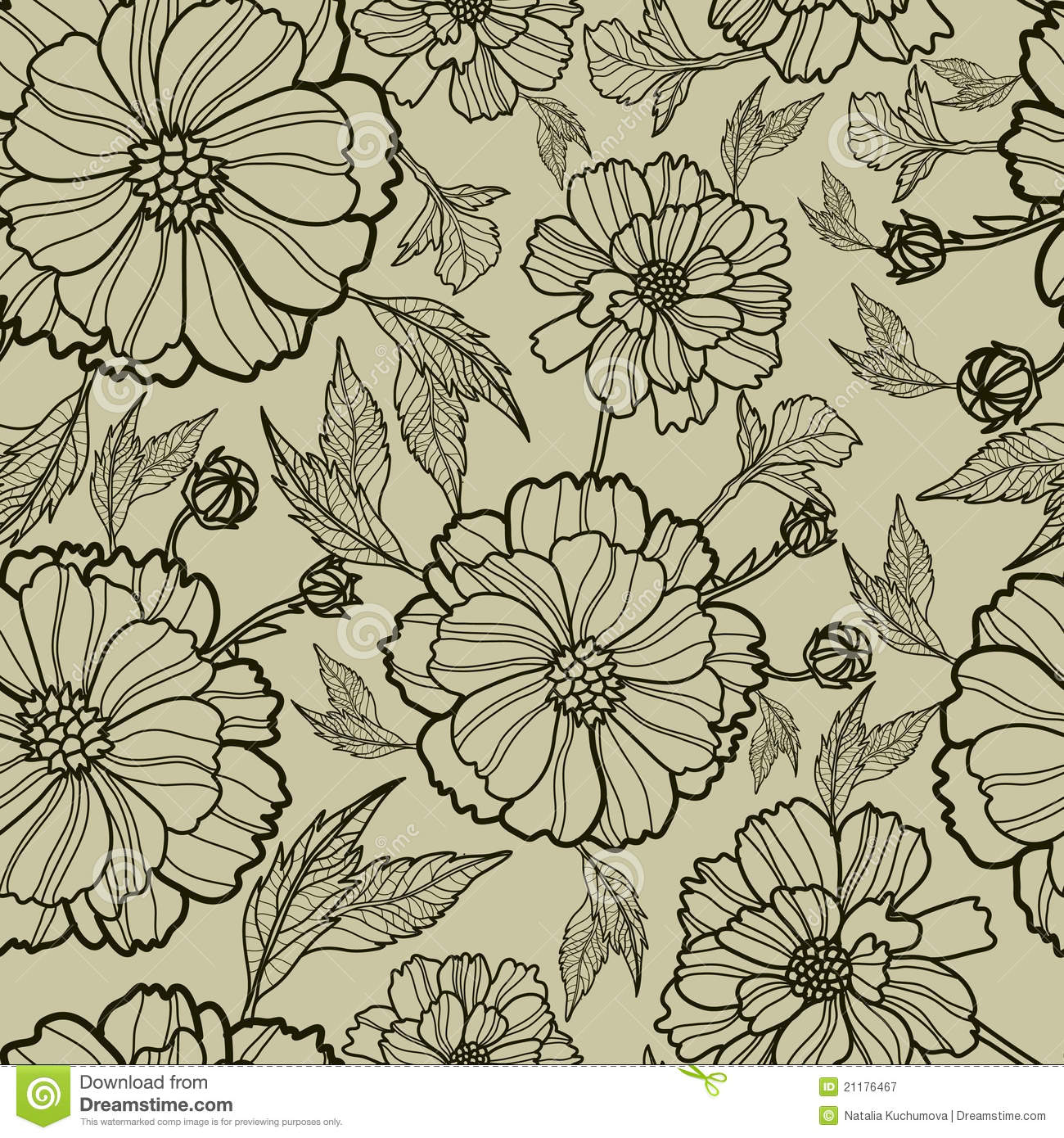 Vector Seamless Floral Pattern Royalty Free Stock