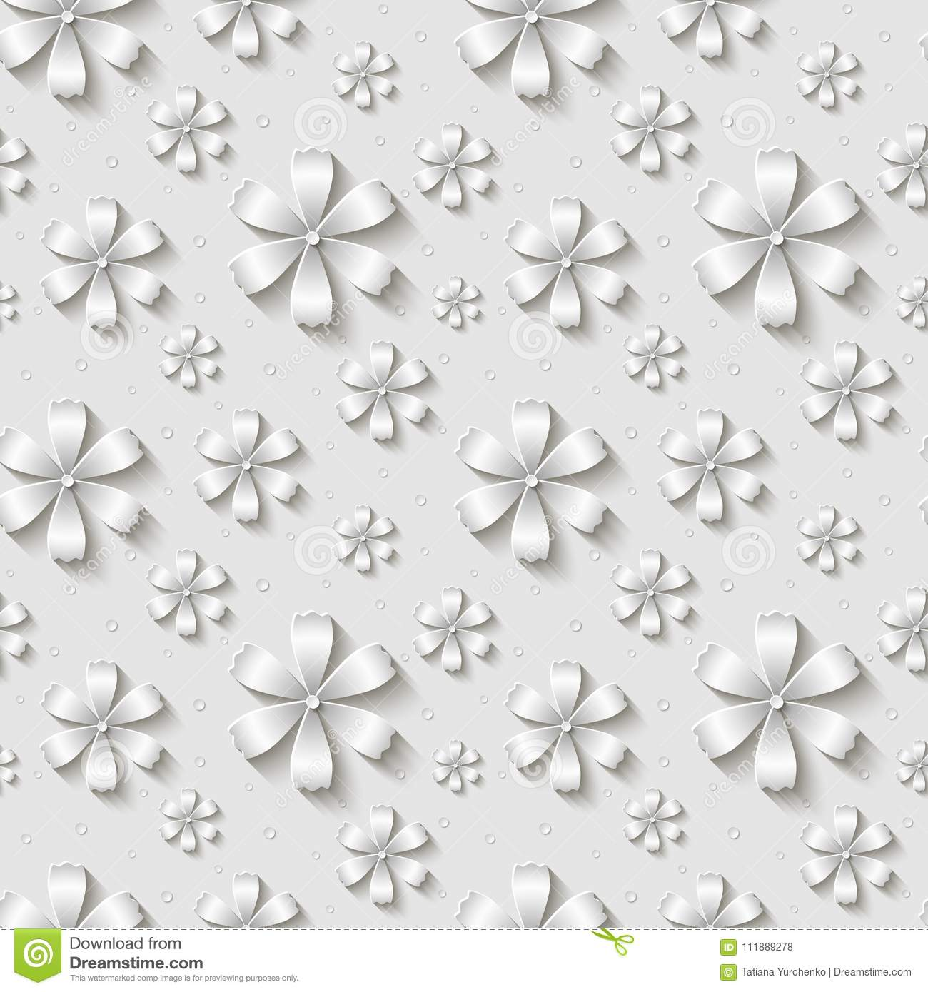 Vector Seamless Floral Pattern Background With 3d White Paper Cut