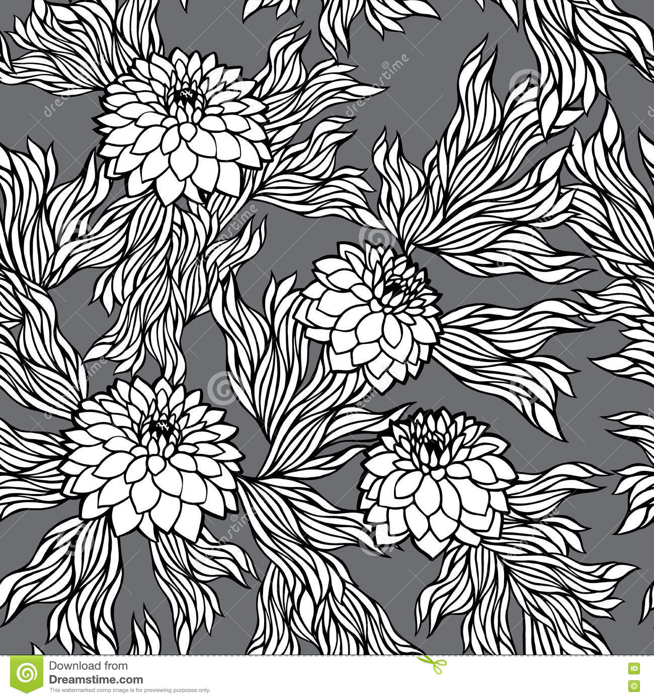 Vector Seamless Floral Pattern Black And White Monochrome In Retro Vintage Style Aster Peony Chrysanthemum Dahlia For Wallpaper Postcard Print