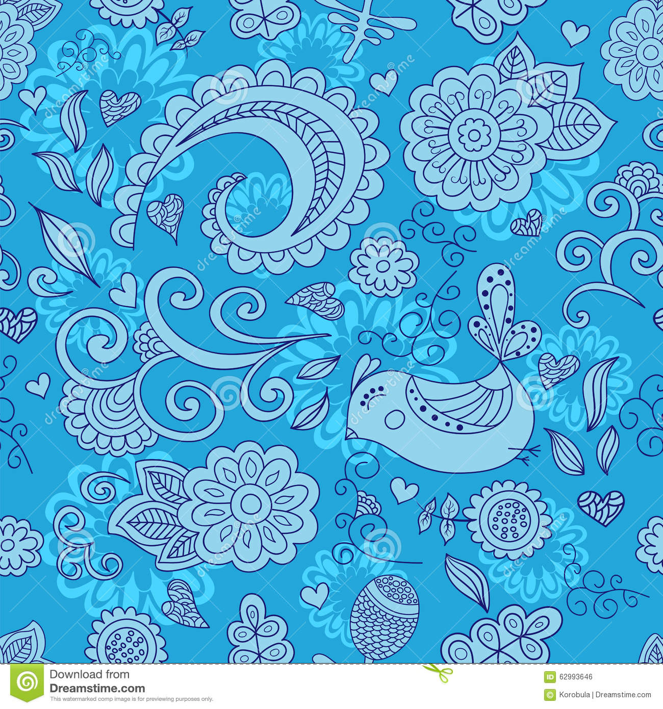 Vector seamless floral pattern and a cute bird. blue.