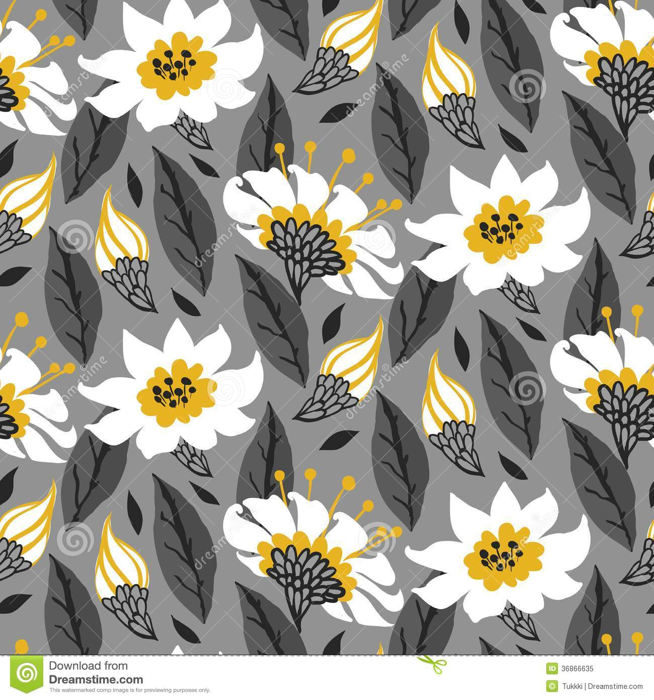 Yellow And Gray Floral Pattern Vector seamless floral pattern