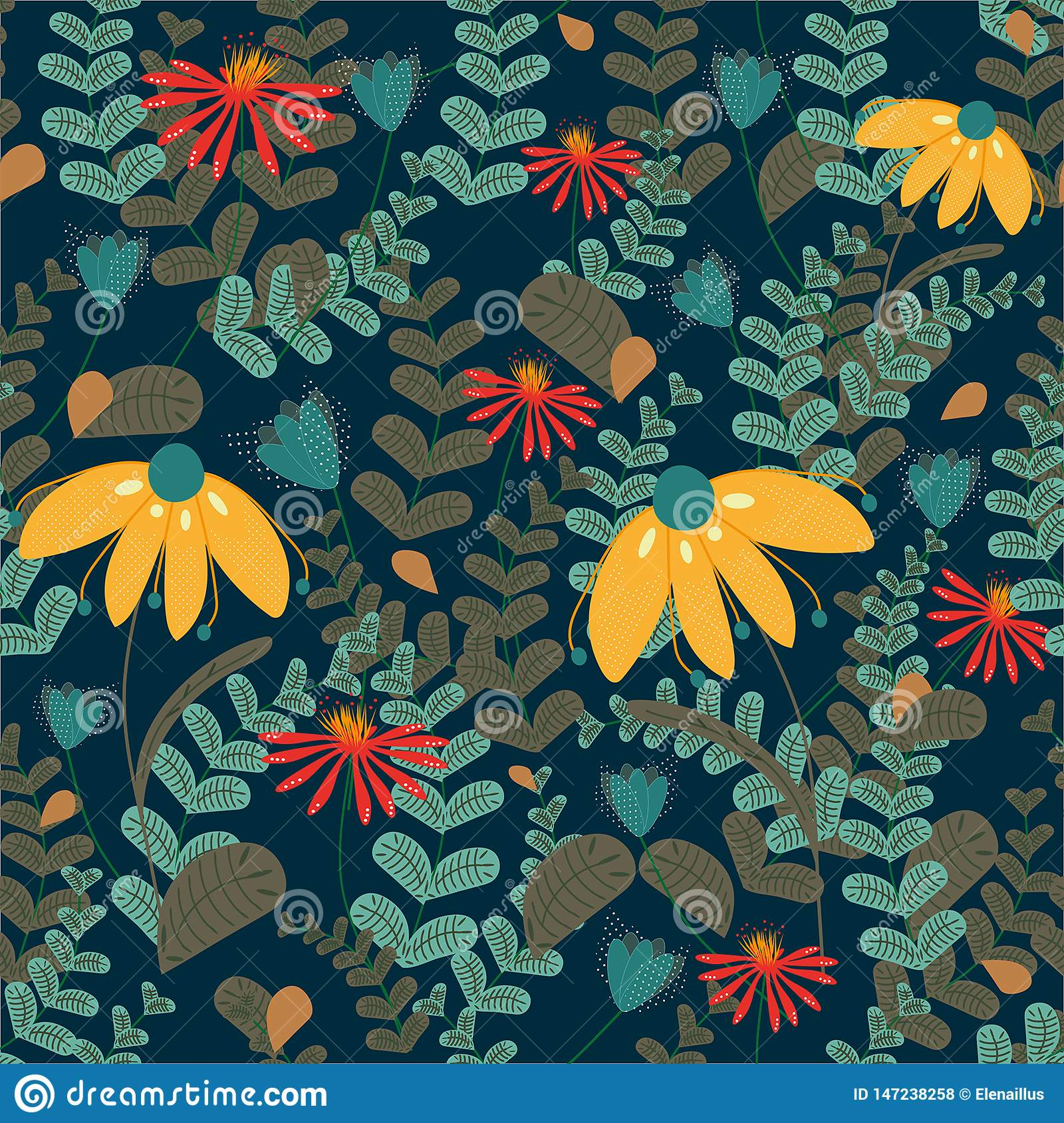Vector seamless floral pattern on dark coloured background. Leaves and flowers pattern
