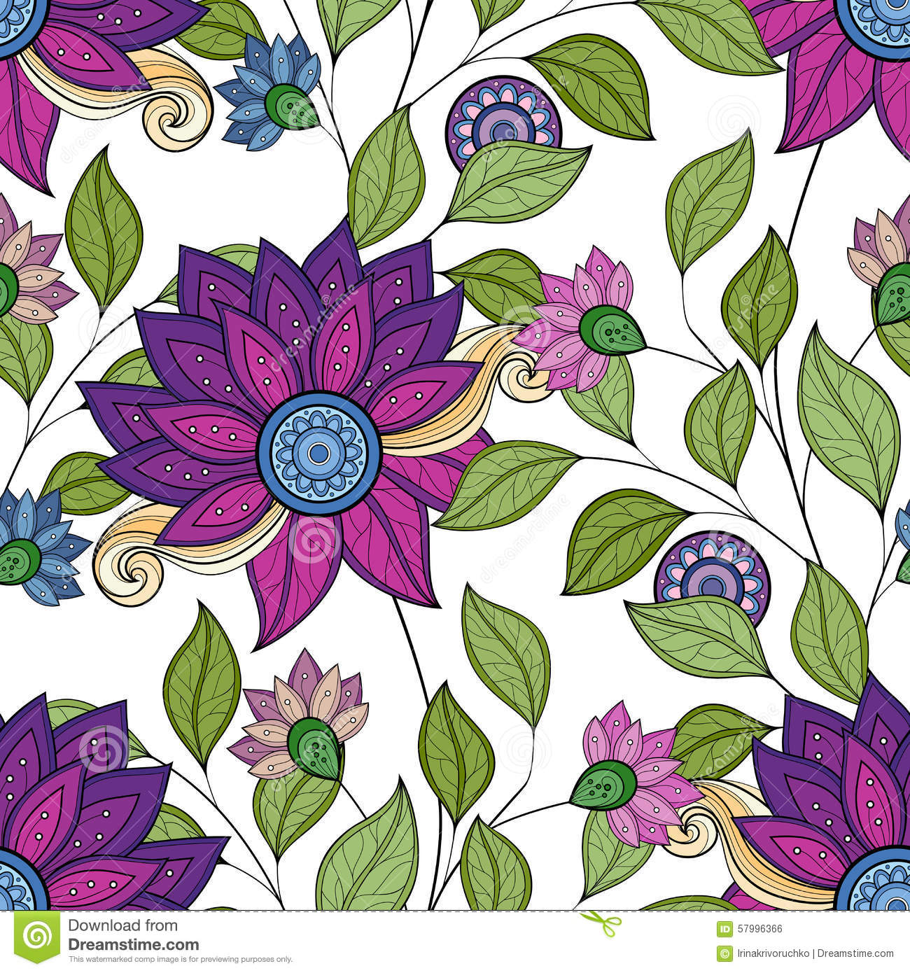 Vector Seamless Floral Pattern Stock Vector - Illustration of design ...