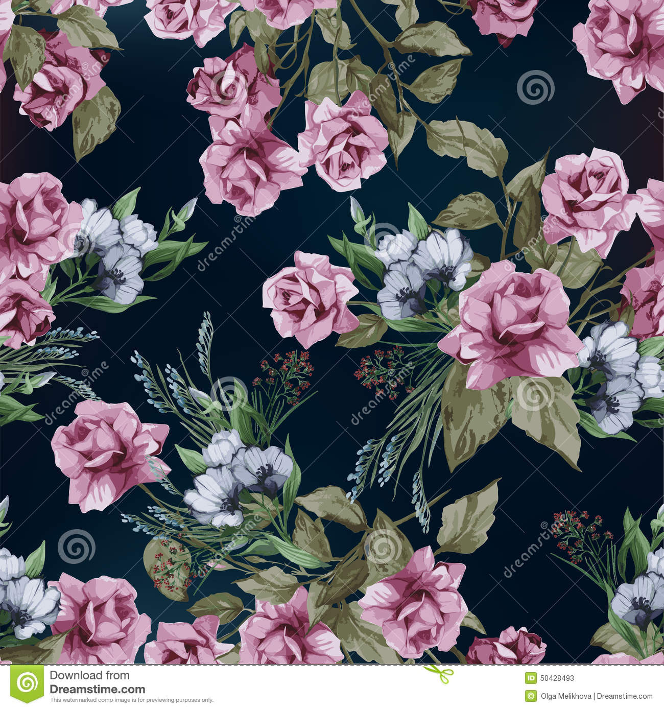 Vector Seamless Floral Pattern With Pink Roses, Watercolor Stock ...