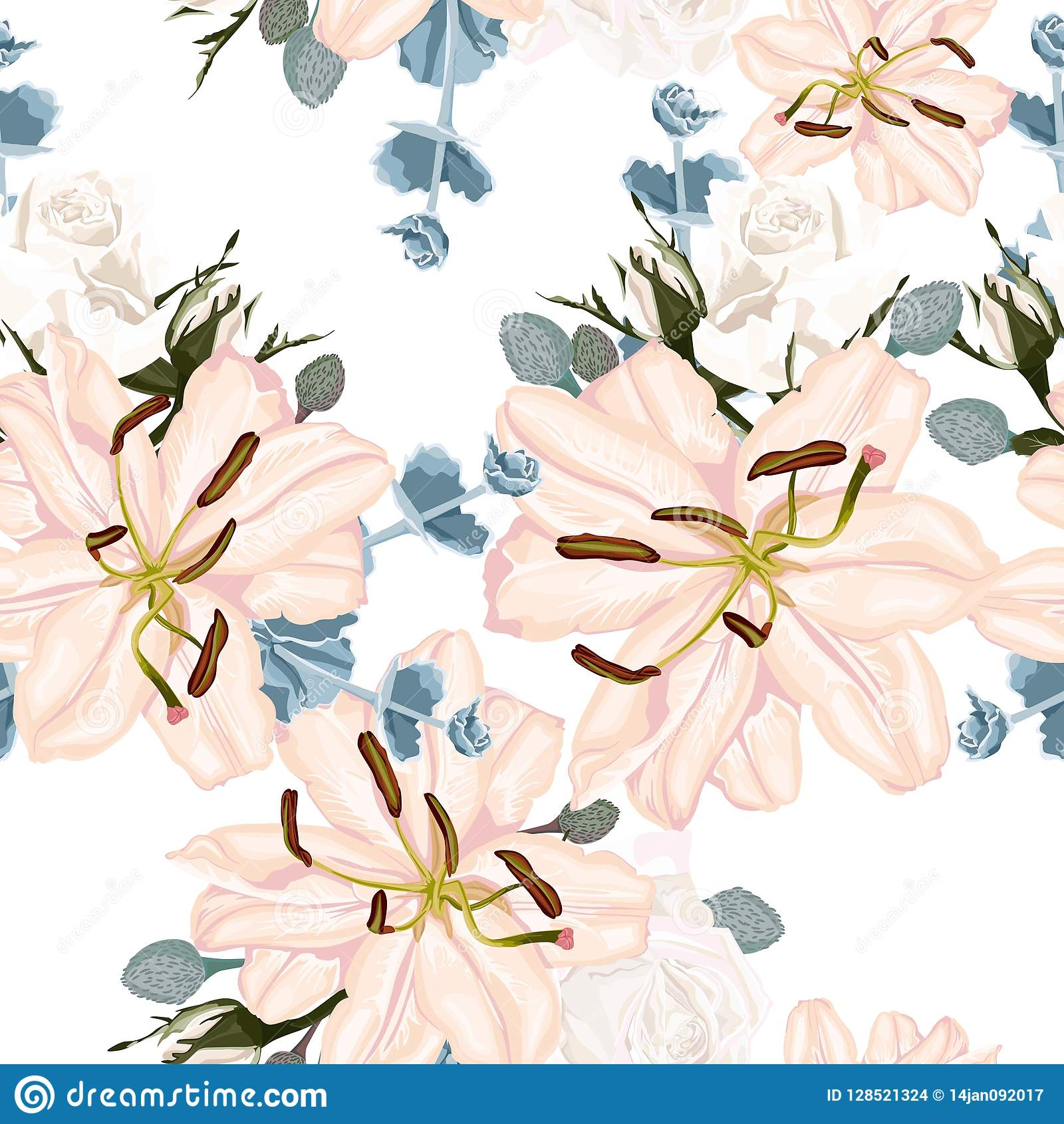 Vector Seamless Floral Pattern With Retro Flowers Wallpaper With Lily And White Roses Stock Illustration Illustration Of Flowers Elegant 128521324