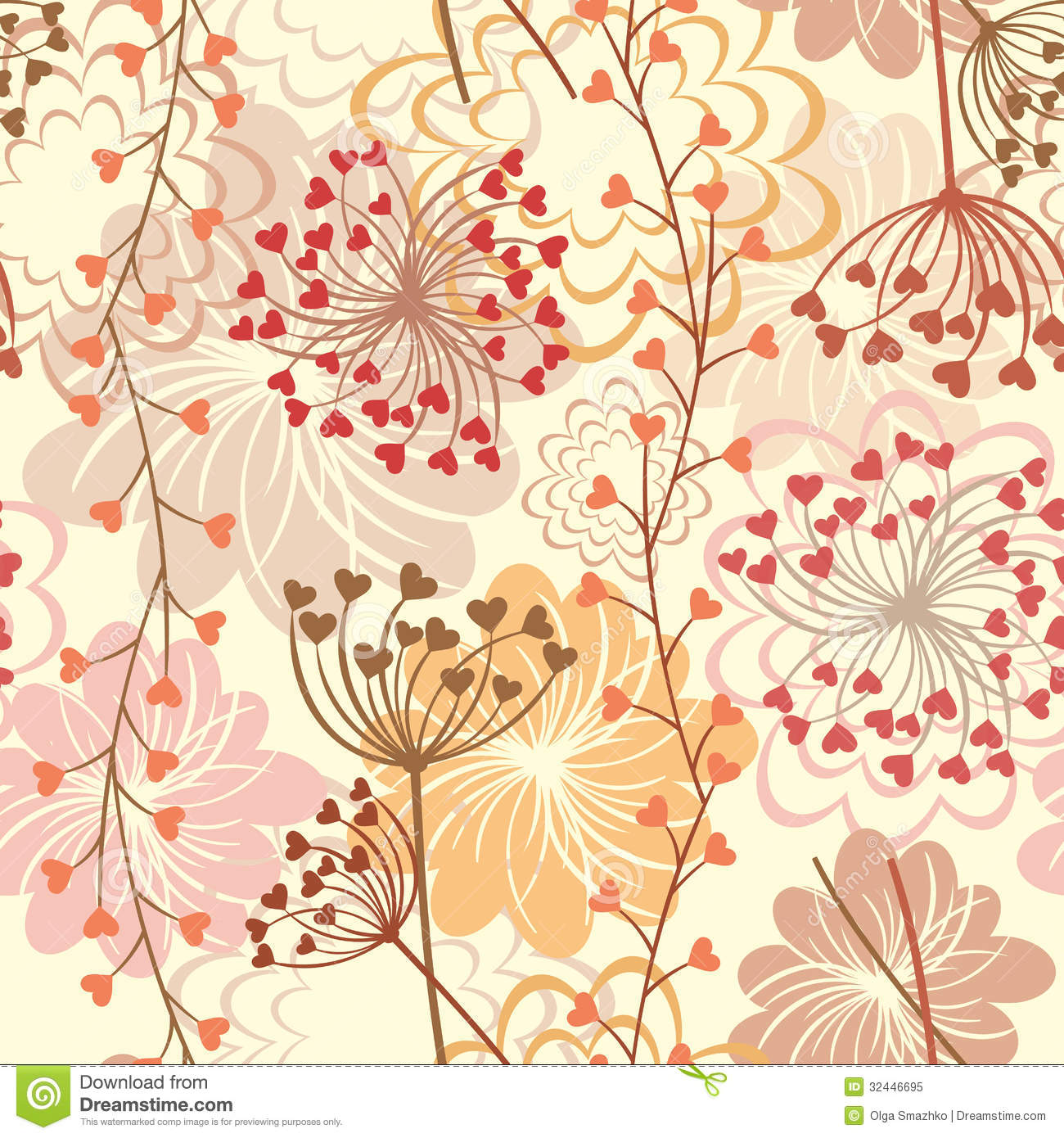 Vector Seamless Floral Retro Background Stock Vector Illustration