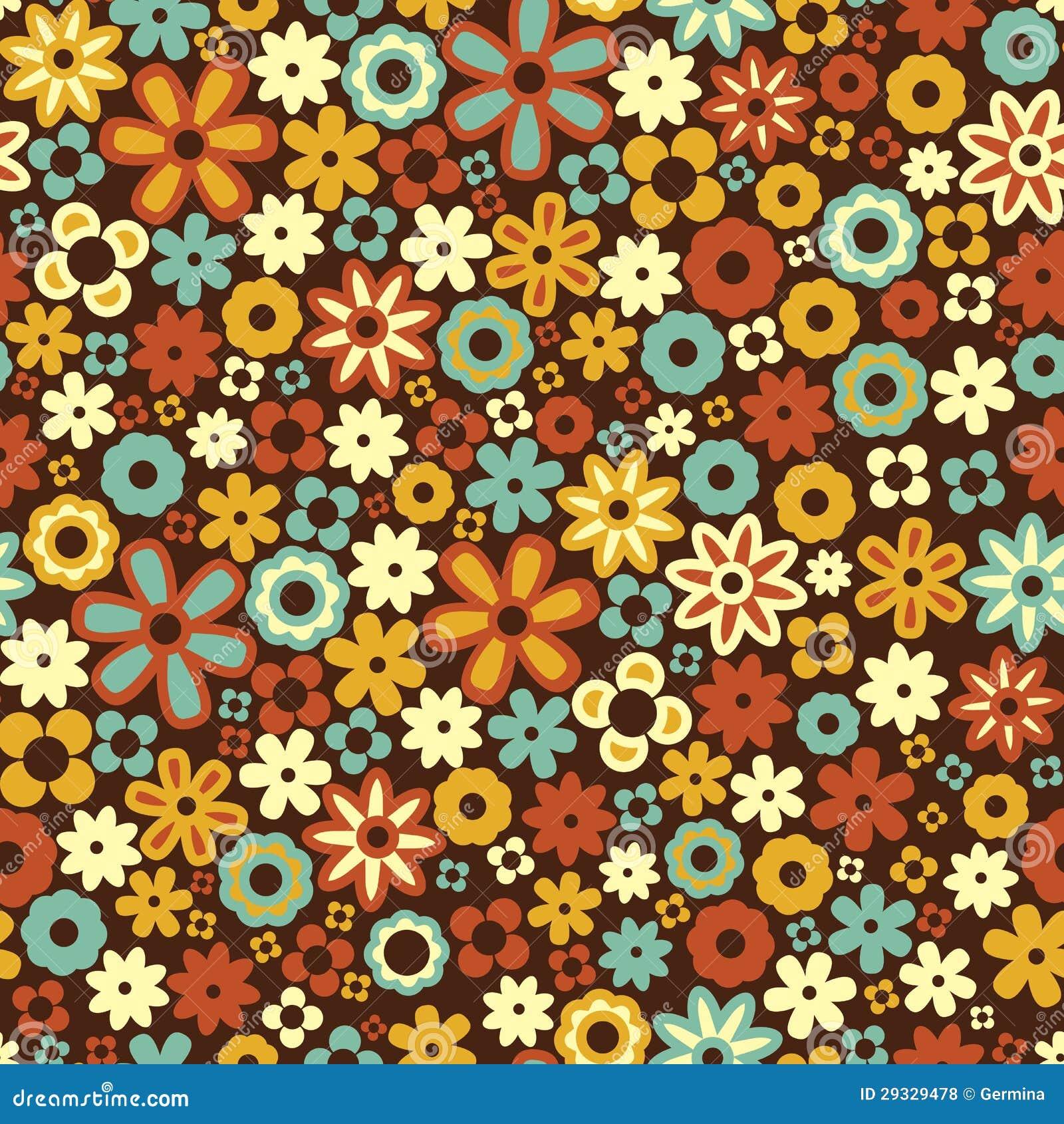 Vector Seamless Flower Pattern Background Stock Vector