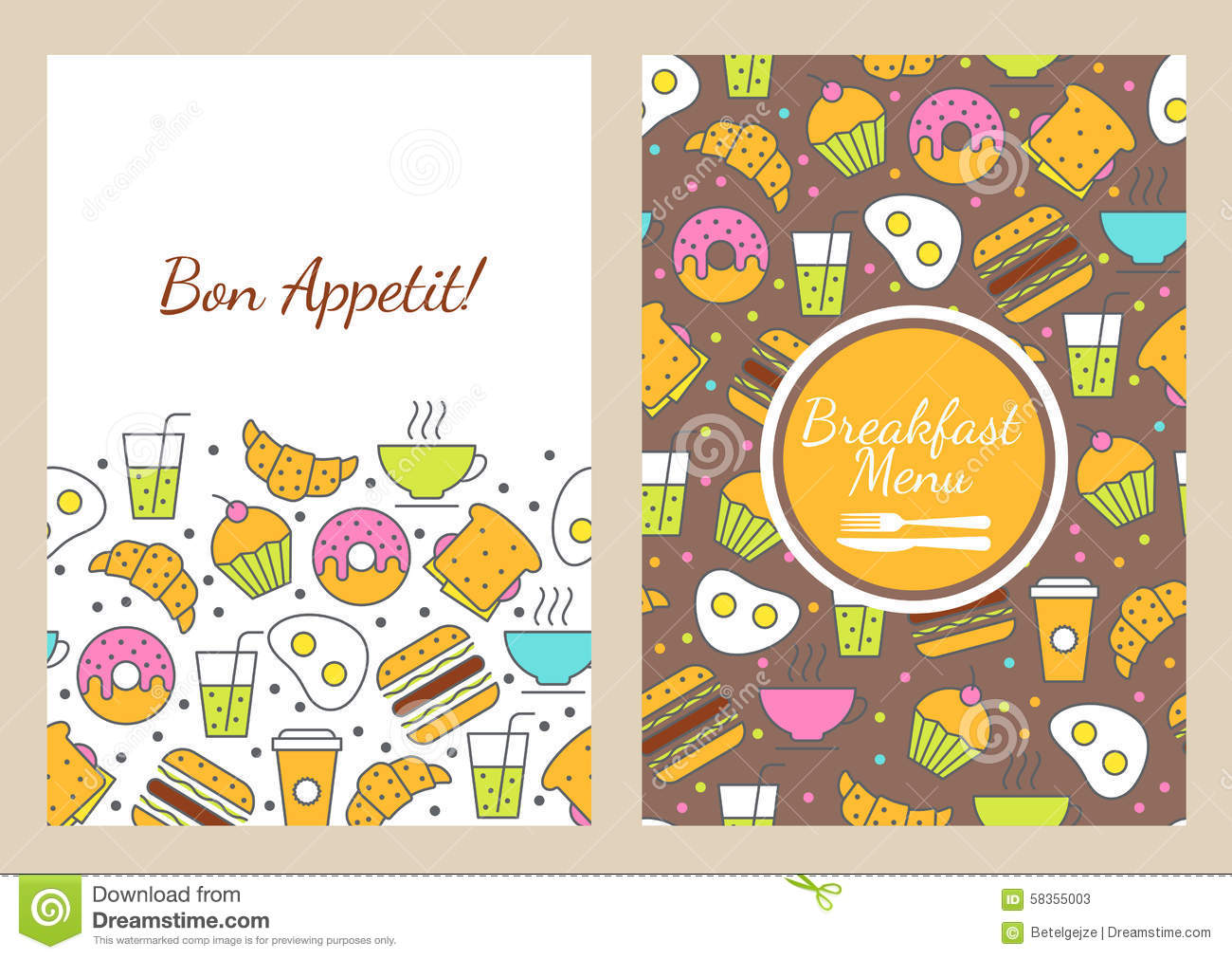 Vector Seamless Food Background Breakfast Menu Stock