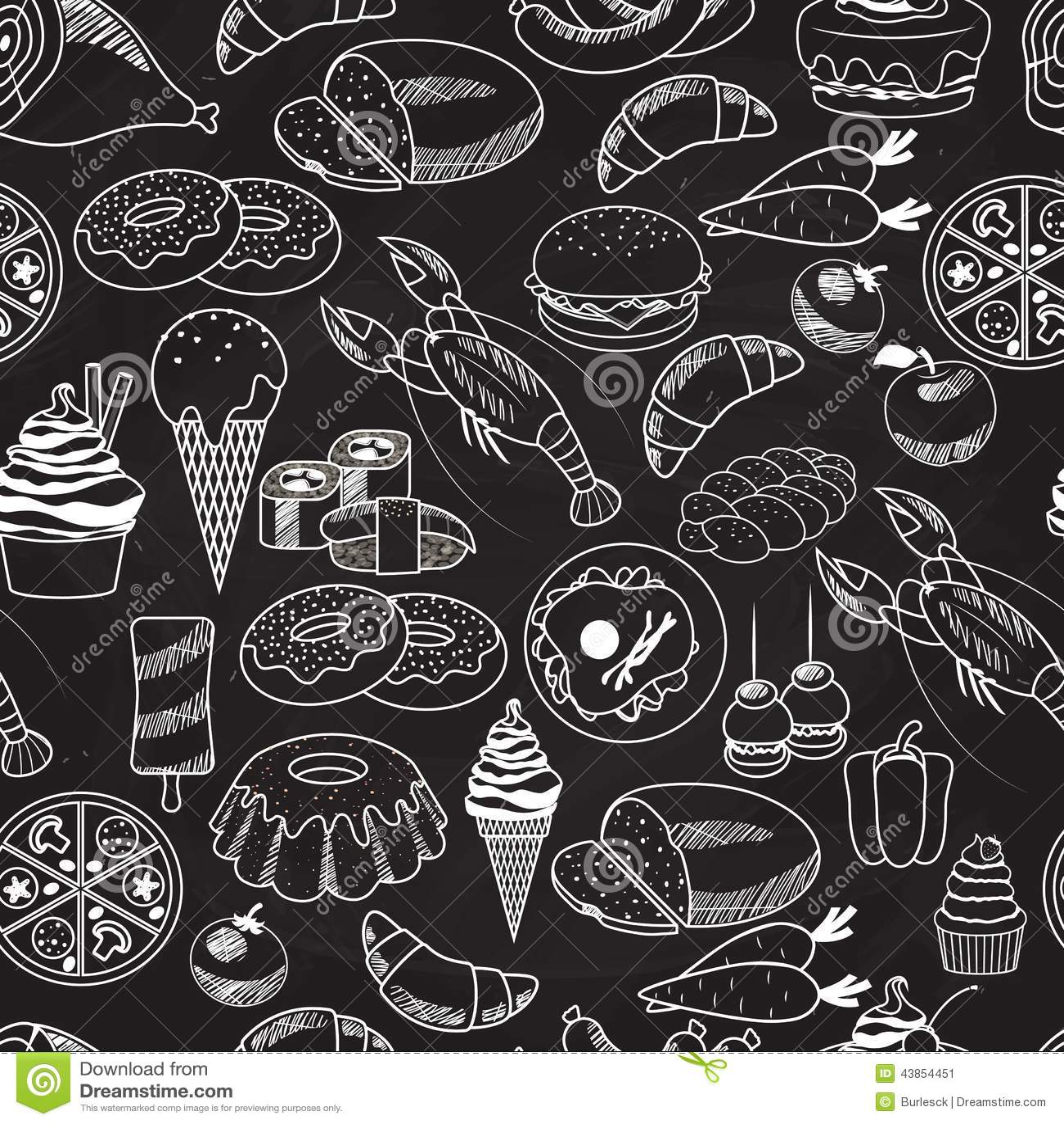 Home Design Ideas Blackboard: Vector Seamless Food On Chalkboard Background Stock Photo