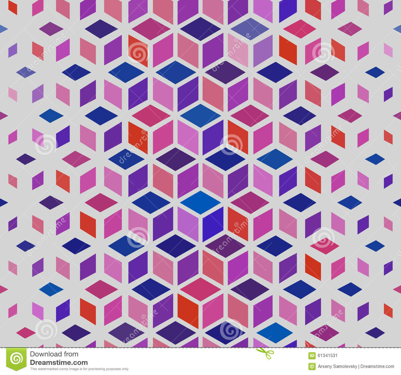 Vector Seamless Geometric Outlined Cube Grid Isometric Red ...