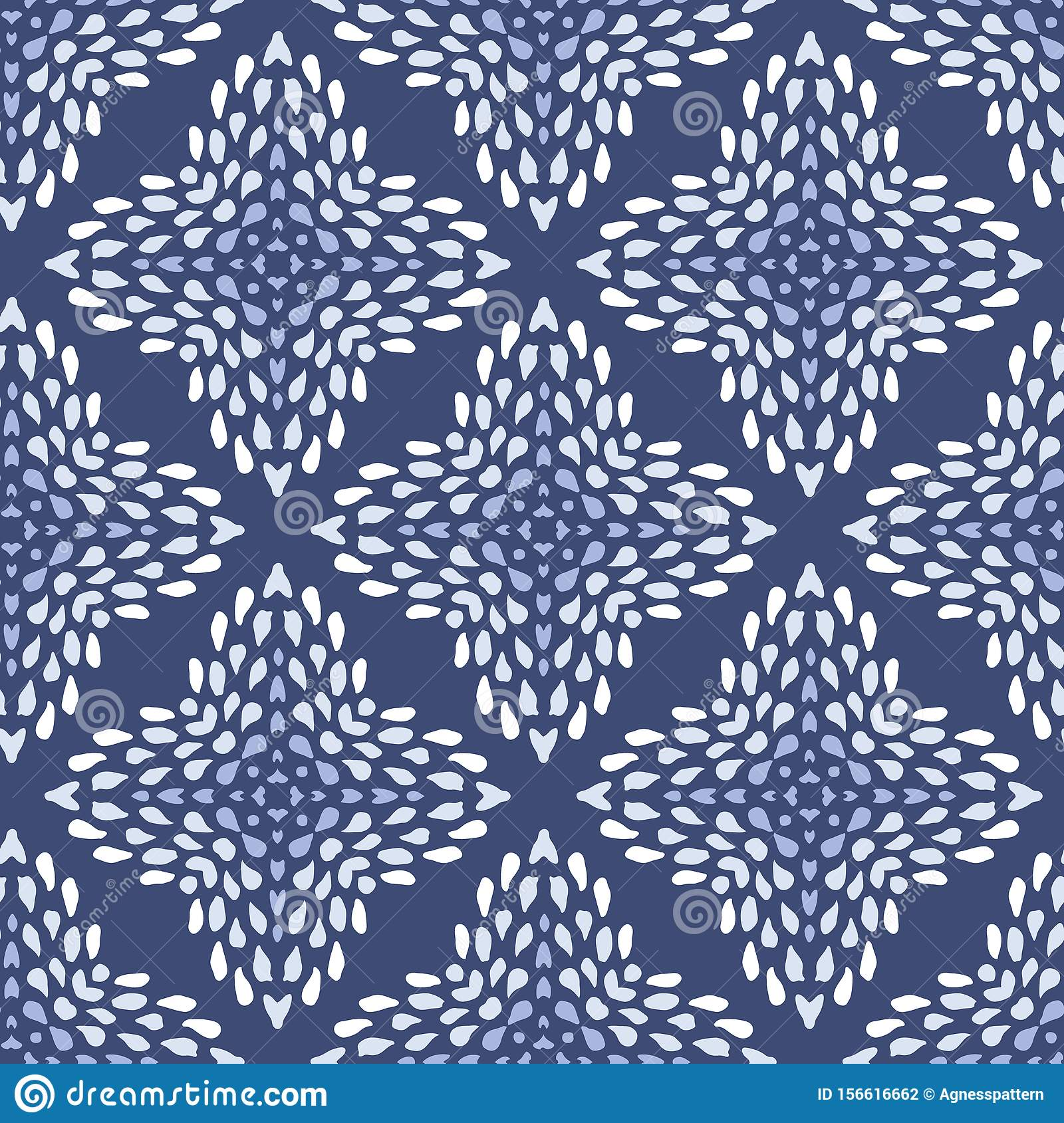 Vector Seamless Indigo Batik Pattern With Irregular Dots