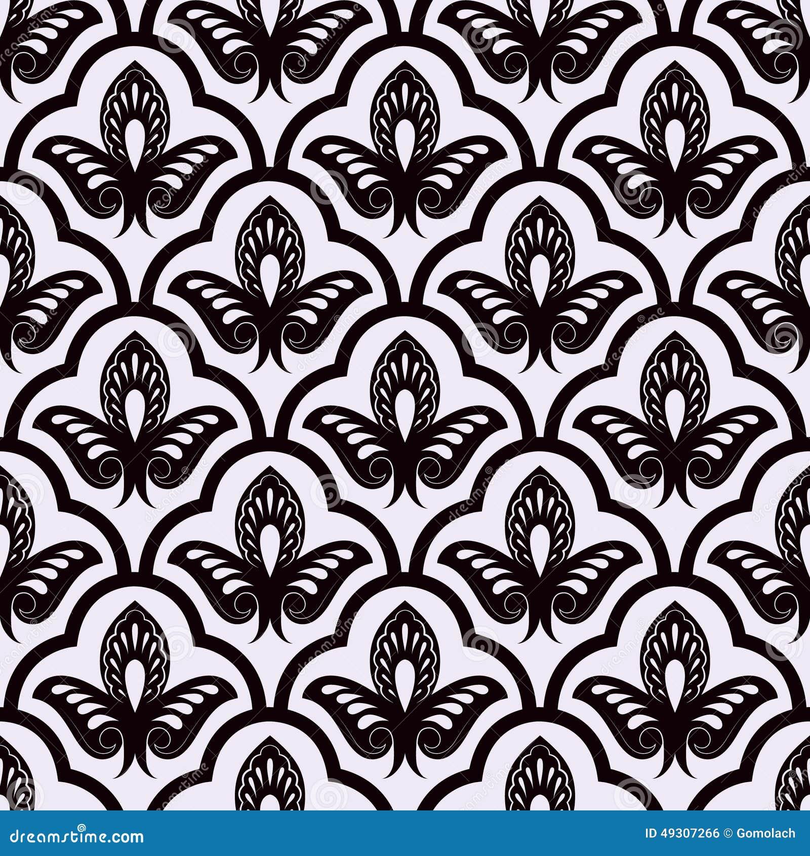 Elegant Background Pattern Black And White Vector Seamless Luxury...