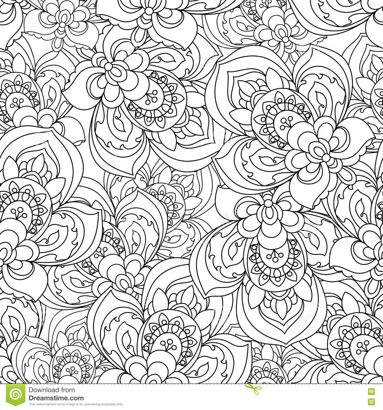 Download Vector Seamless Monochrome Ornate Pattern For Coloring Book Hand Drawn Mandala Texture Vintage