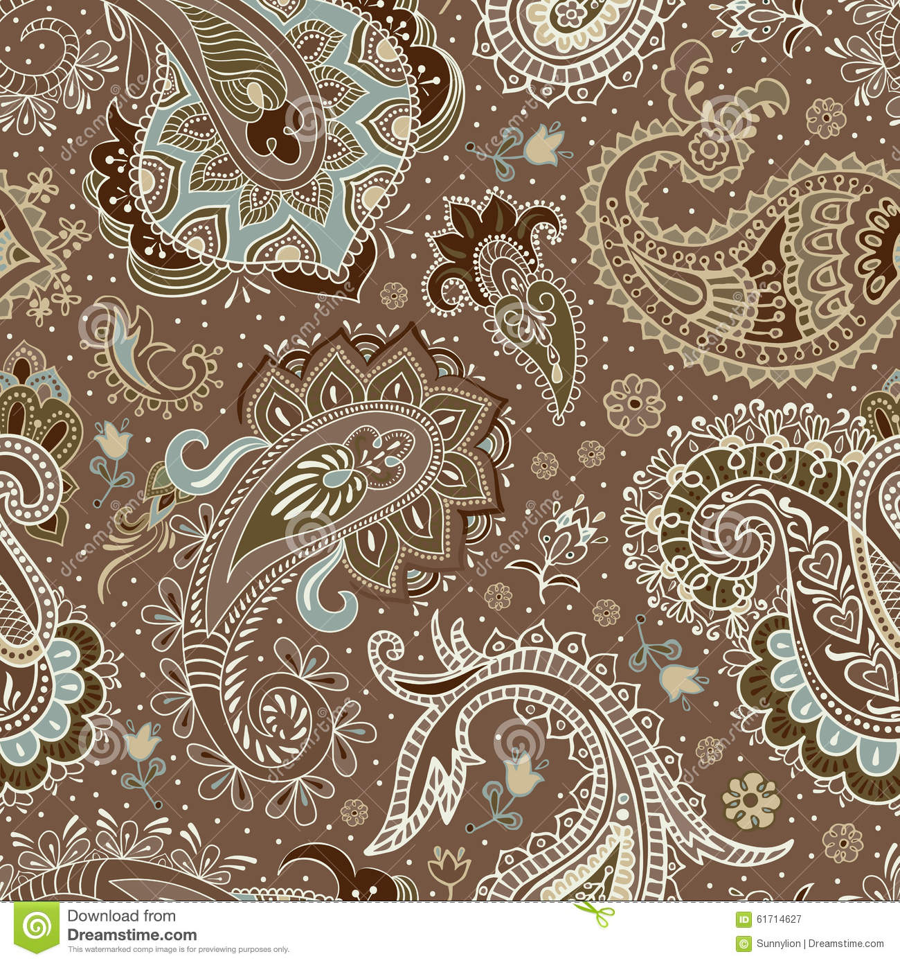 Vector Seamless Paisley Pattern Stock Vector - Image: 61714627