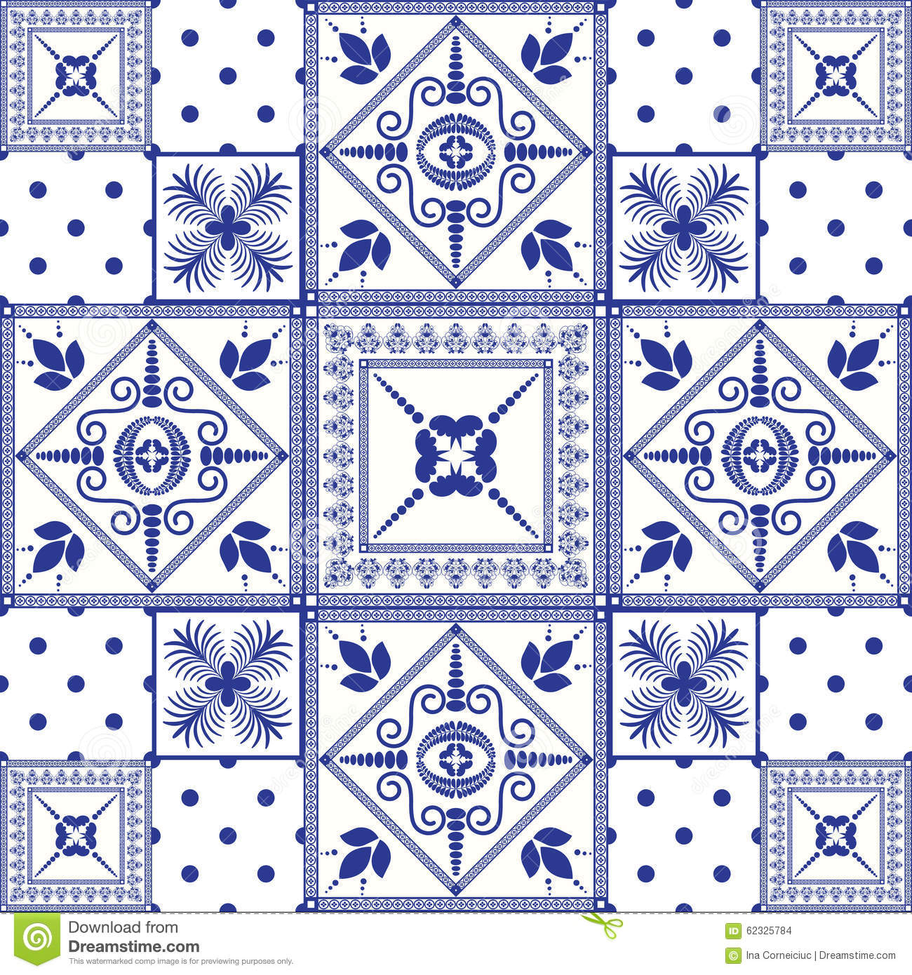 Moroccan Scroll Tile Light Blue Handmade Persian Style: Vector Seamless Patchwork Background. Navy Blue Stock