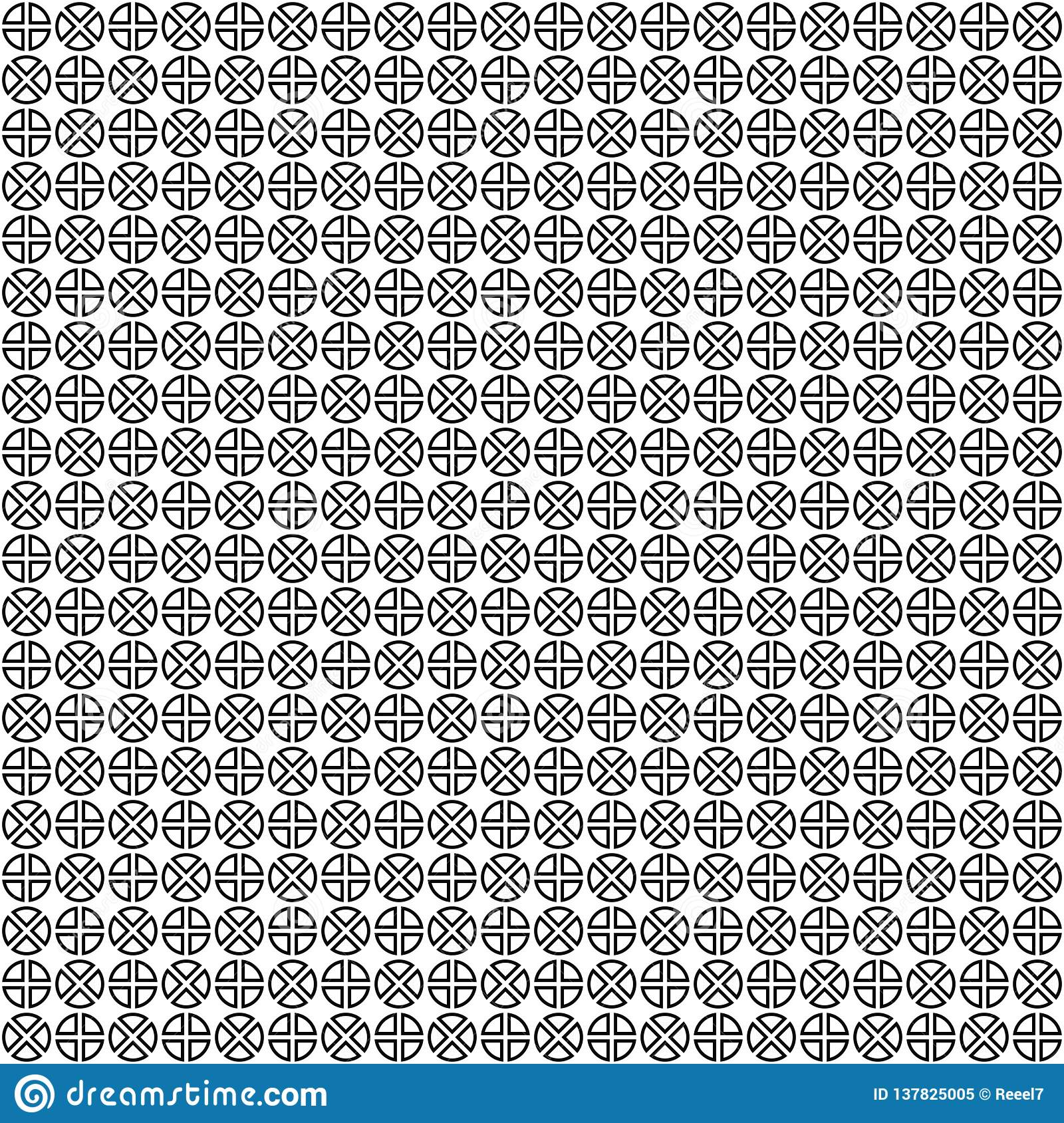 Vector seamless pattern. Abstract geometric texture. Black-and-white background. Monochrome divided circles design.