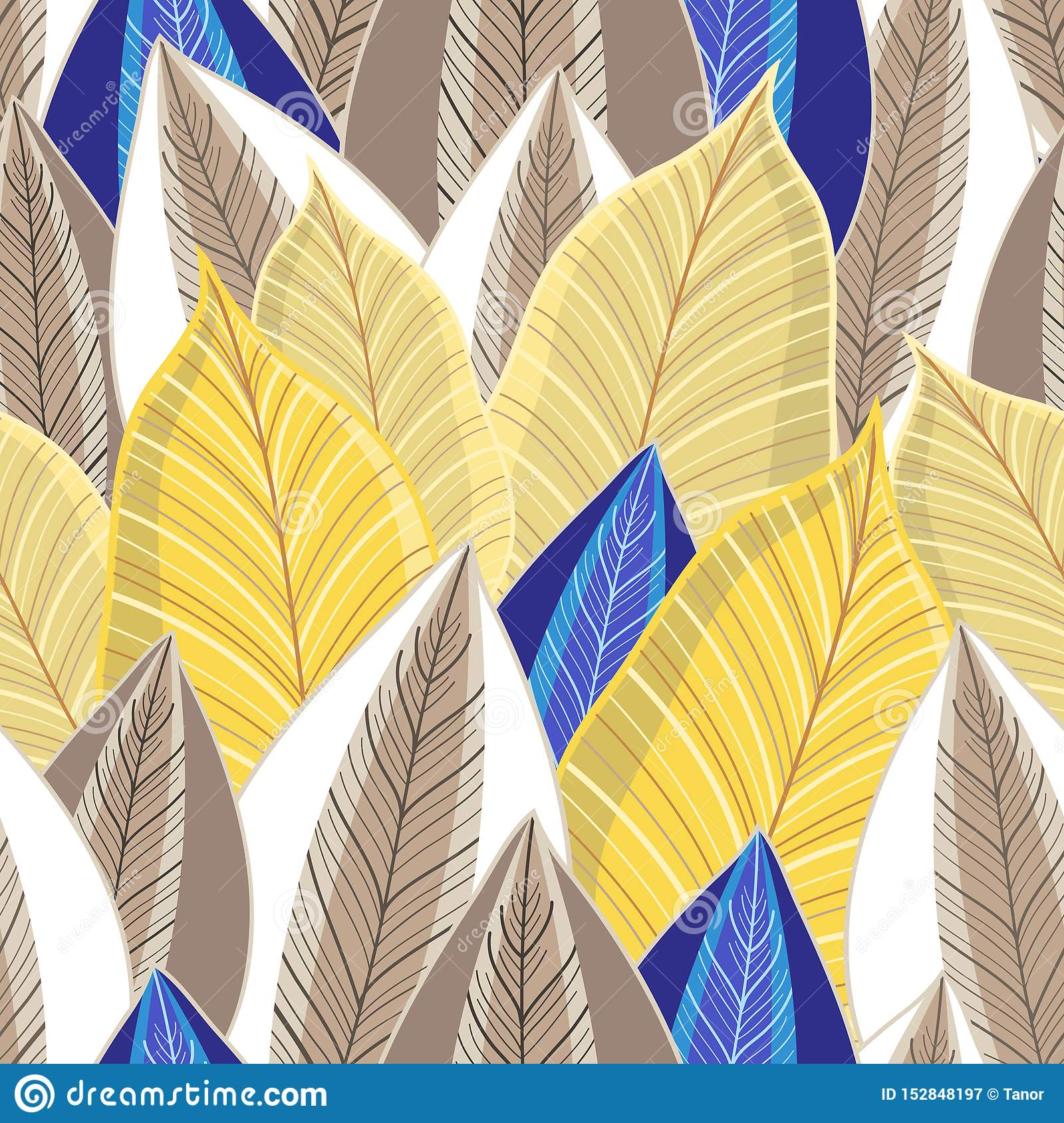Vector seamless pattern of autumn golden leaves