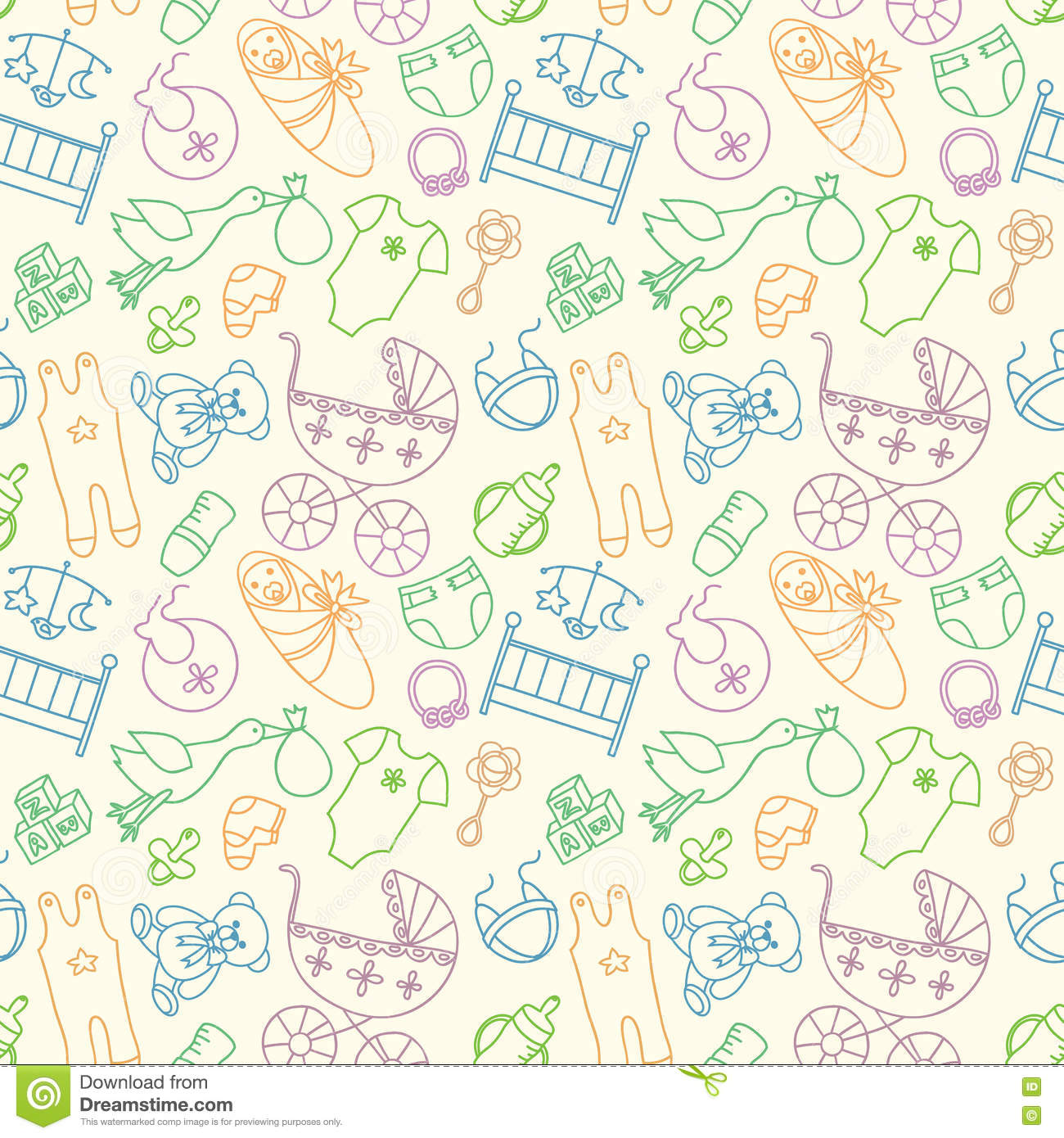 0f005774d Vector Seamless Pattern With Baby Elements. Newborn Clothes And ...