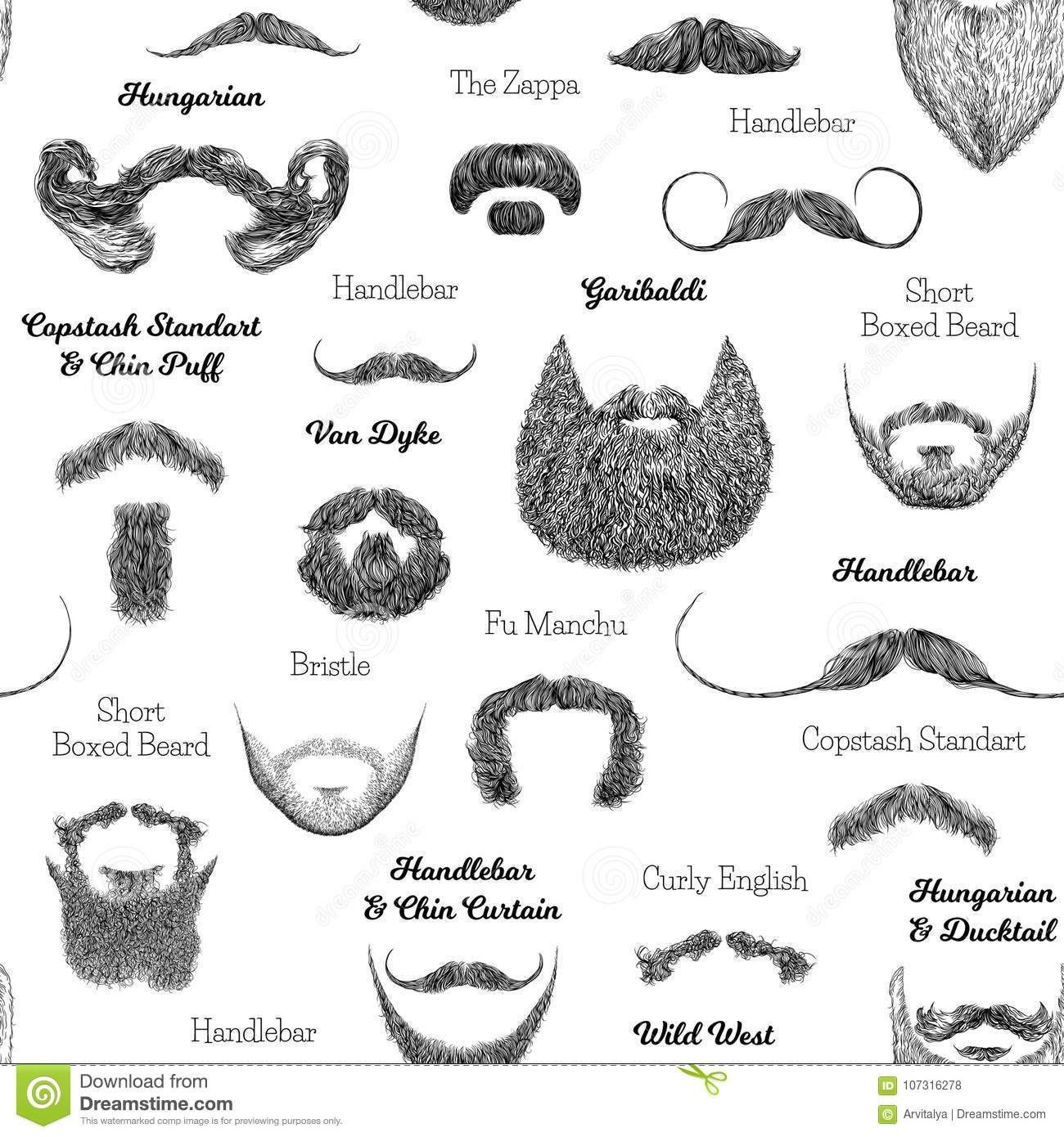 Tremendous Vector Seamless Pattern With Beards And Mustaches Stock Vector Natural Hairstyles Runnerswayorg