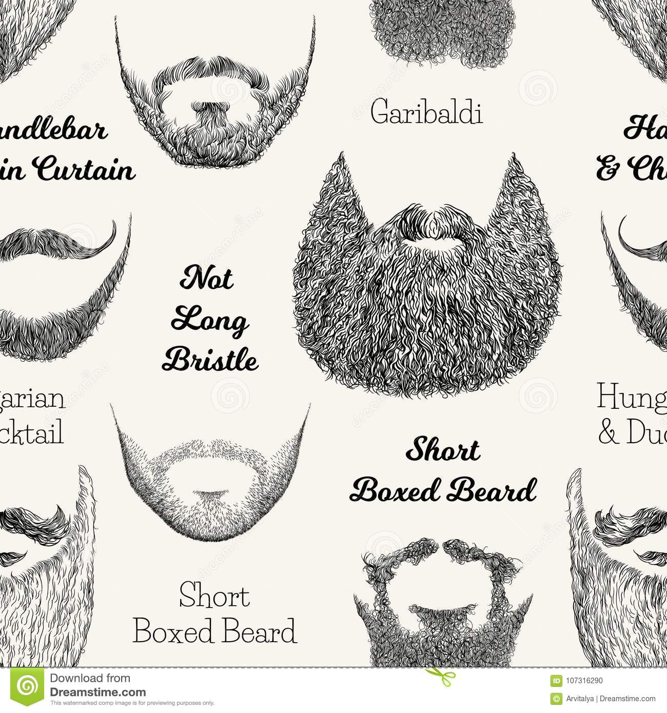 Awesome Vector Seamless Pattern With Beards And Mustaches Stock Vector Natural Hairstyles Runnerswayorg