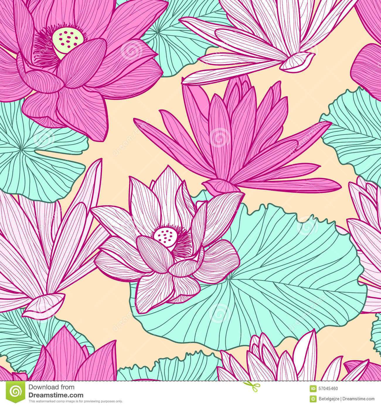 Vector seamless pattern with beautiful pink lotus flower and gre vector seamless pattern with beautiful pink lotus flower and gre izmirmasajfo
