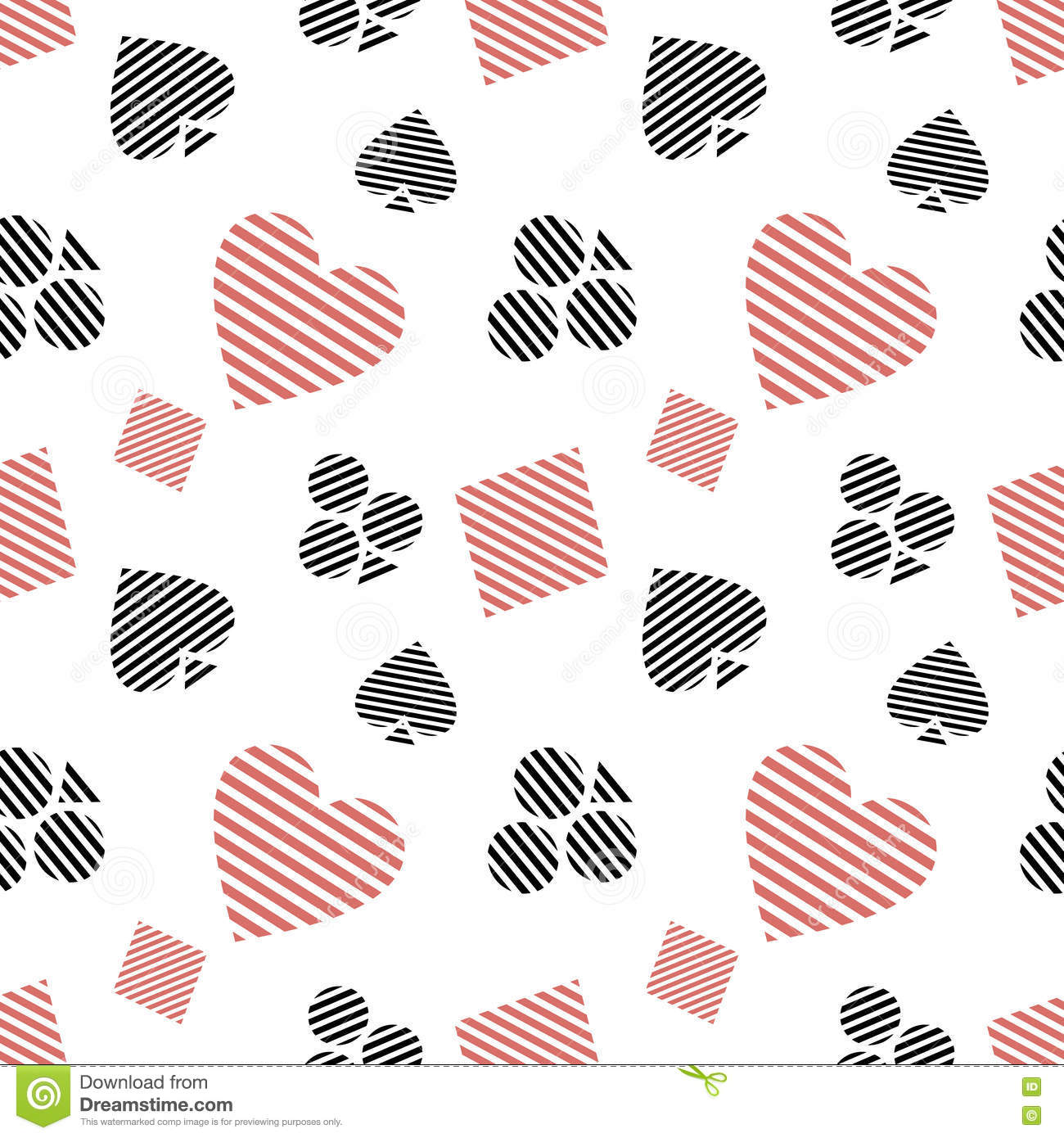 Vector seamless pattern with black and red lined playing card vector seamless pattern with black and red lined playing card symbols on the white background biocorpaavc