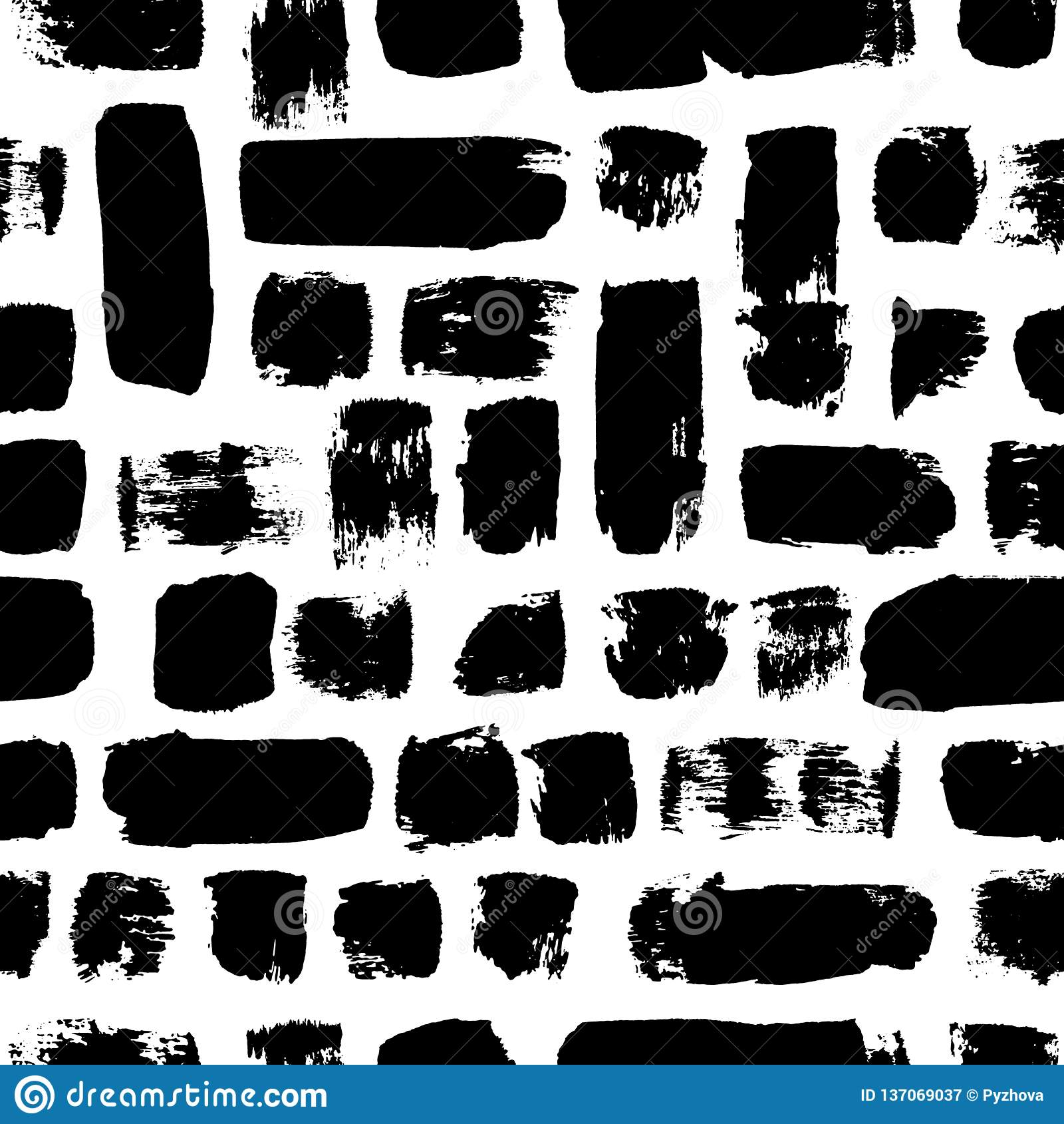 Vector seamless pattern. Black and white painted watercolor strips. Hand drawn texture elements.