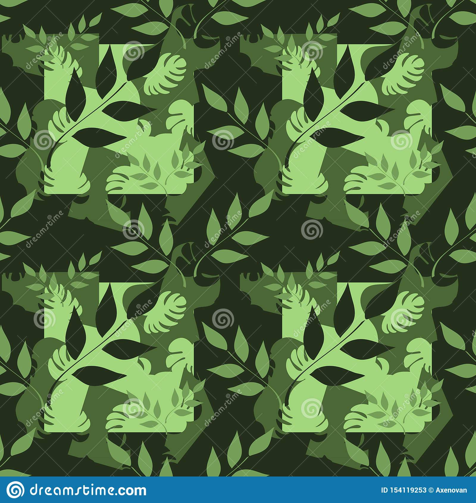 Vector seamless pattern, branches with leaves, tropical leaves on dark background. Abstract spots. Hand drawn illustration.