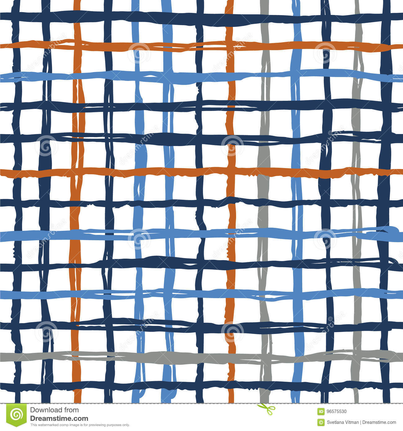 Vector seamless pattern brush stripes plaid. Blue orange color on white background. Hand painted grange texture. Ink